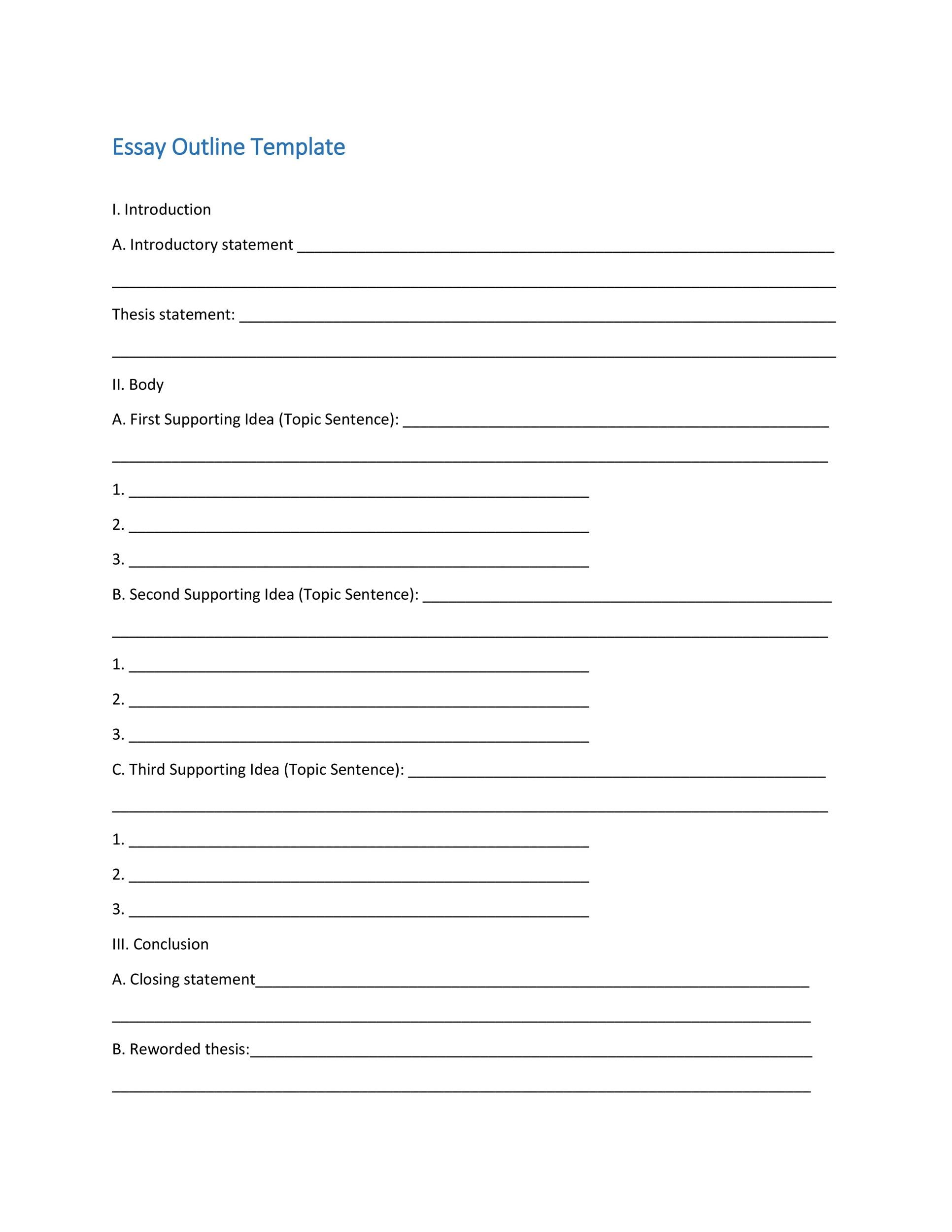 Formal Outline Template Formal Outline Sample Formal Outline