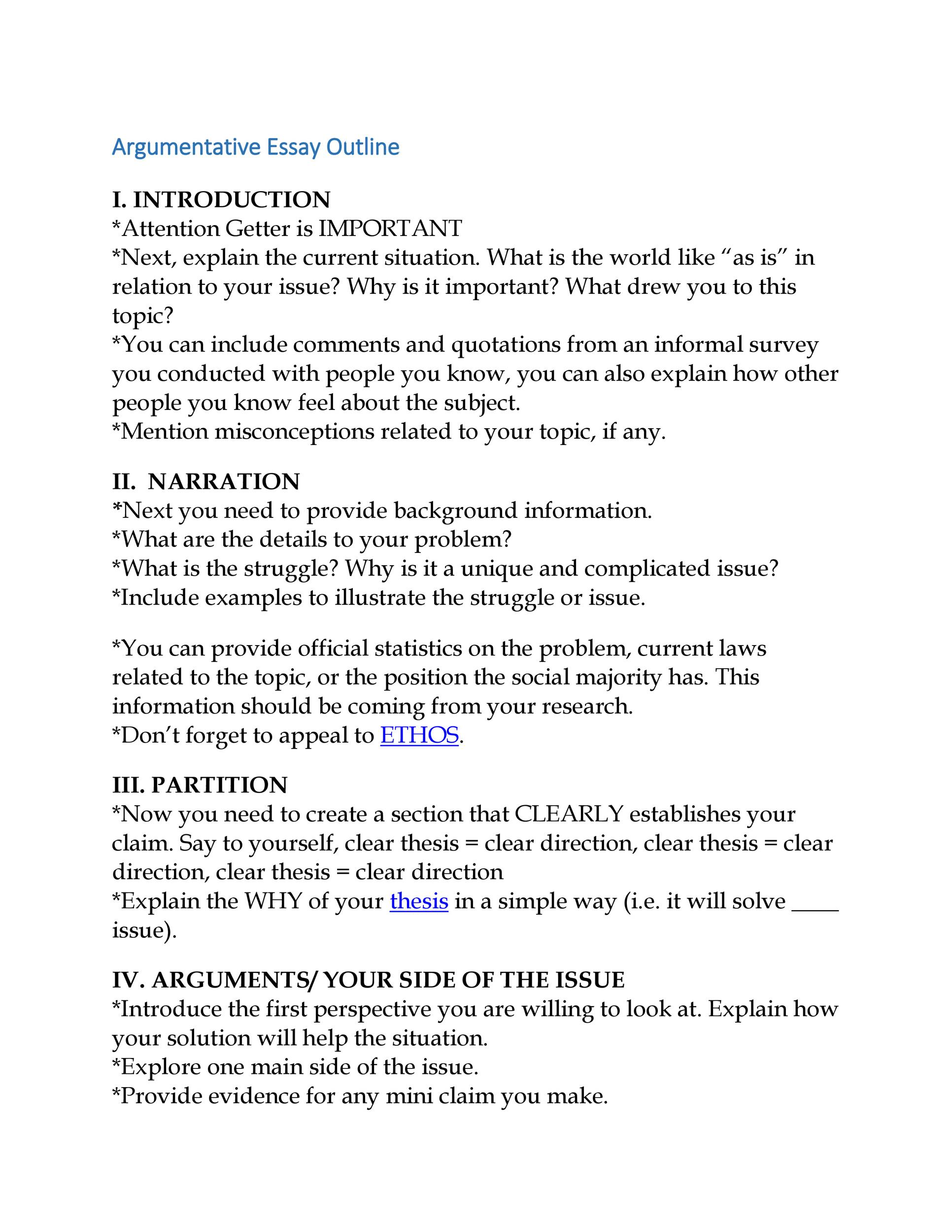 Examples Of Argumentative Essays Introduction