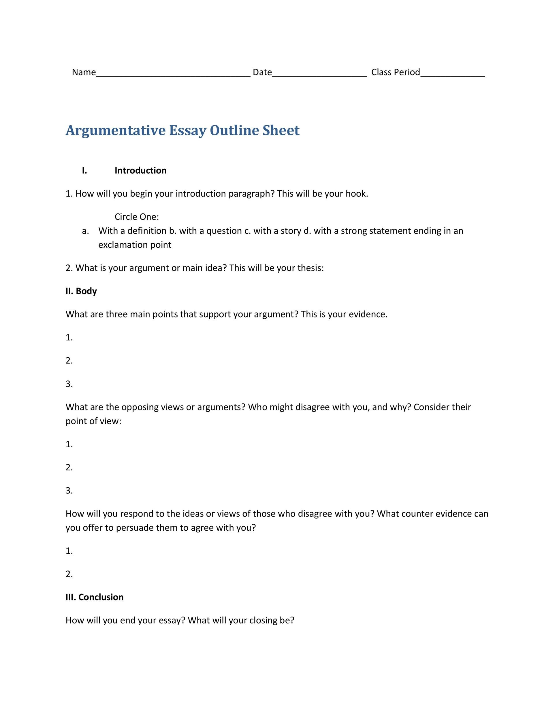Essay outline template argumentative
