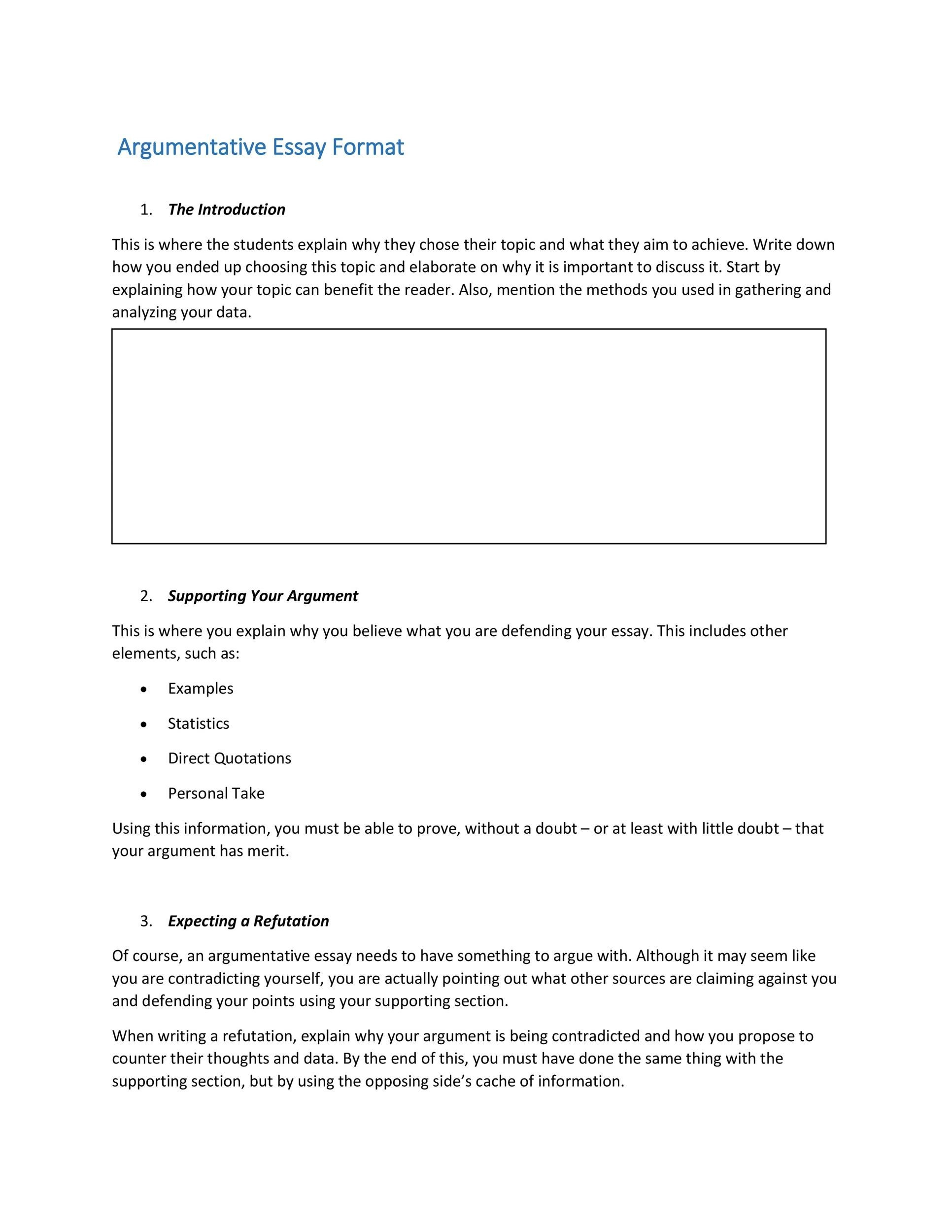 good introductory paragraph argumentative essay Putting together an argumentative essay outline is the perfect way to get started on your argumentative essay assignment—just fill in the your thesis typically makes up the last sentence of your intro paragraph if you're interested in learning more about argumentative essays.