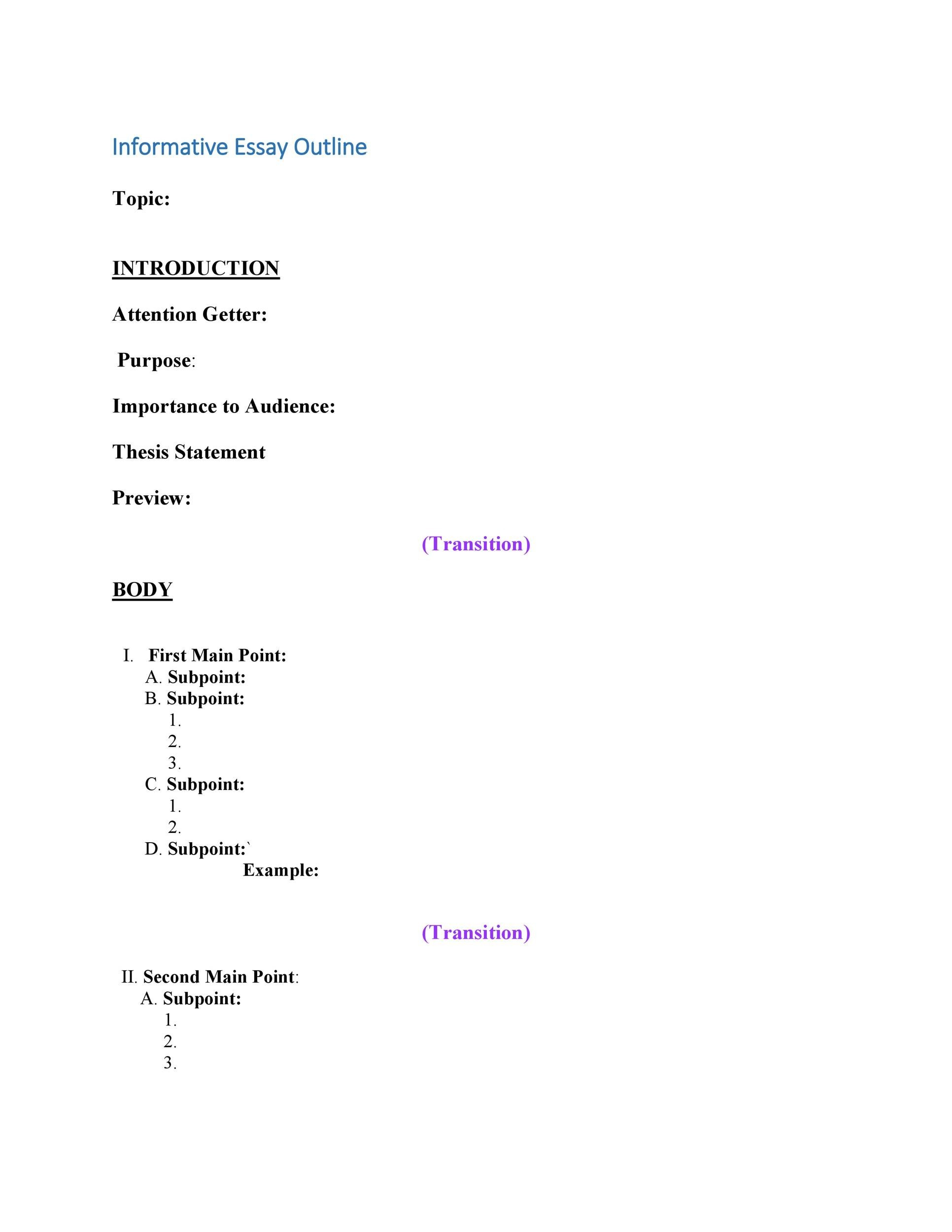 Free Essay Outline Template 23
