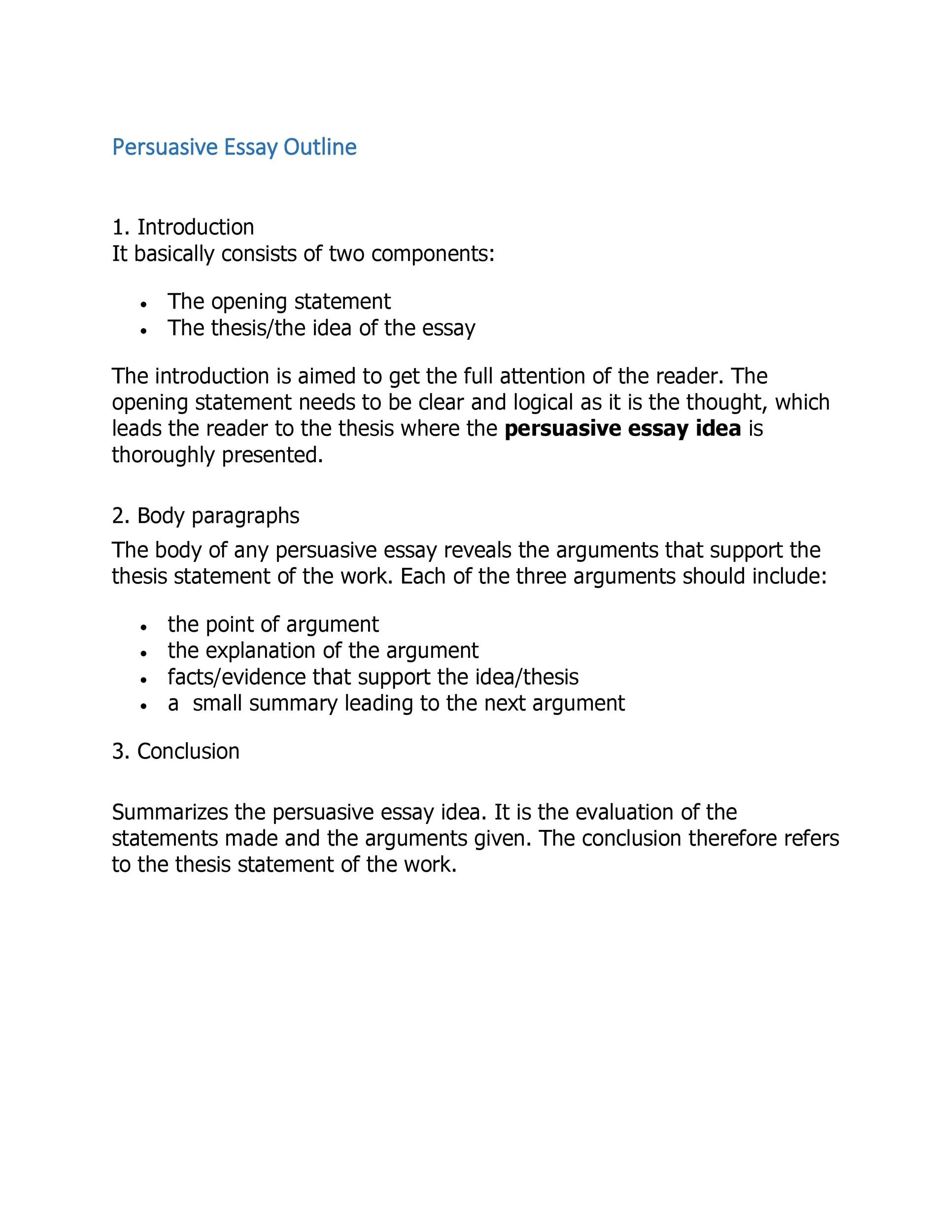 Example of an outline of an essay