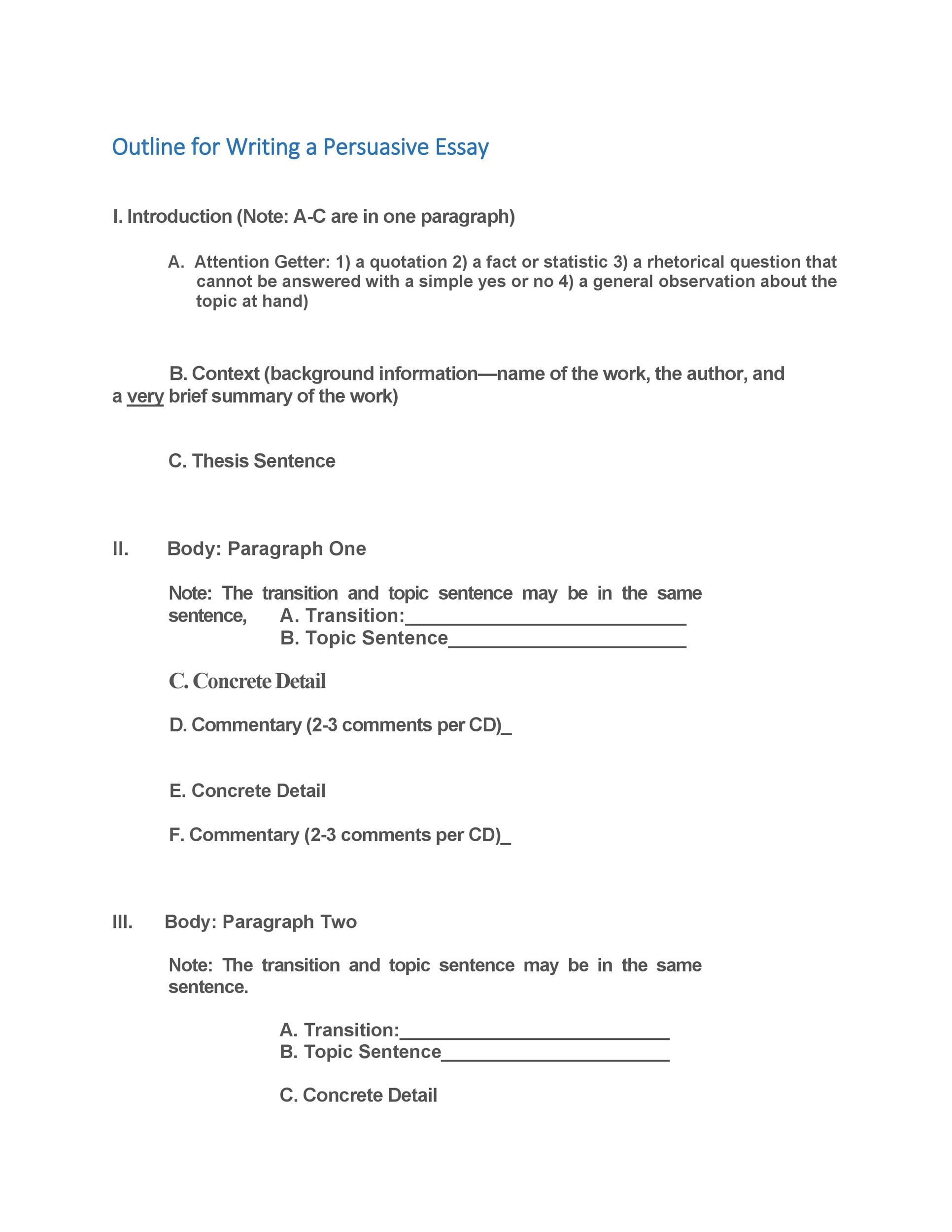 Free Essay Outline Template 35