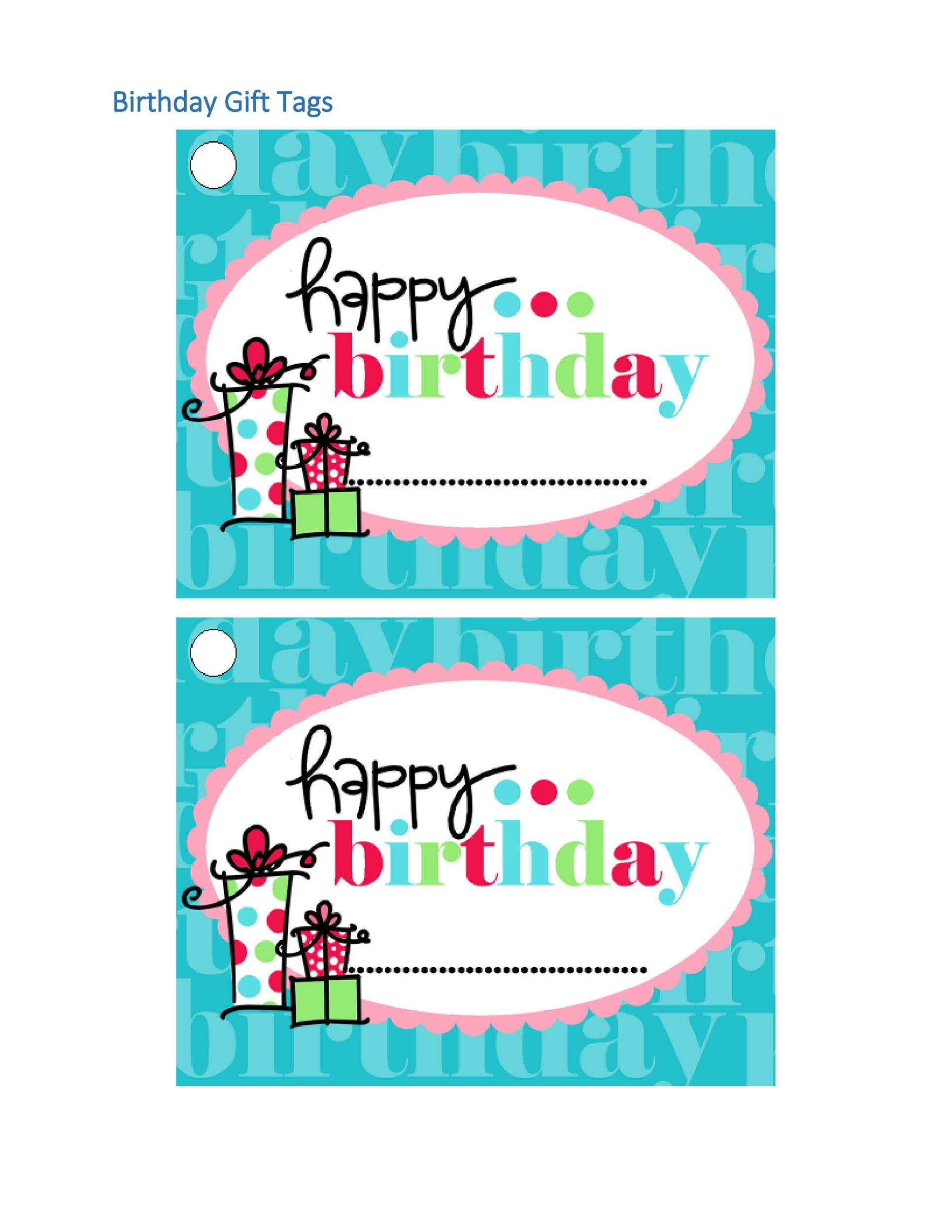 It is a picture of Resource Free Printable Birthday Gift Tags