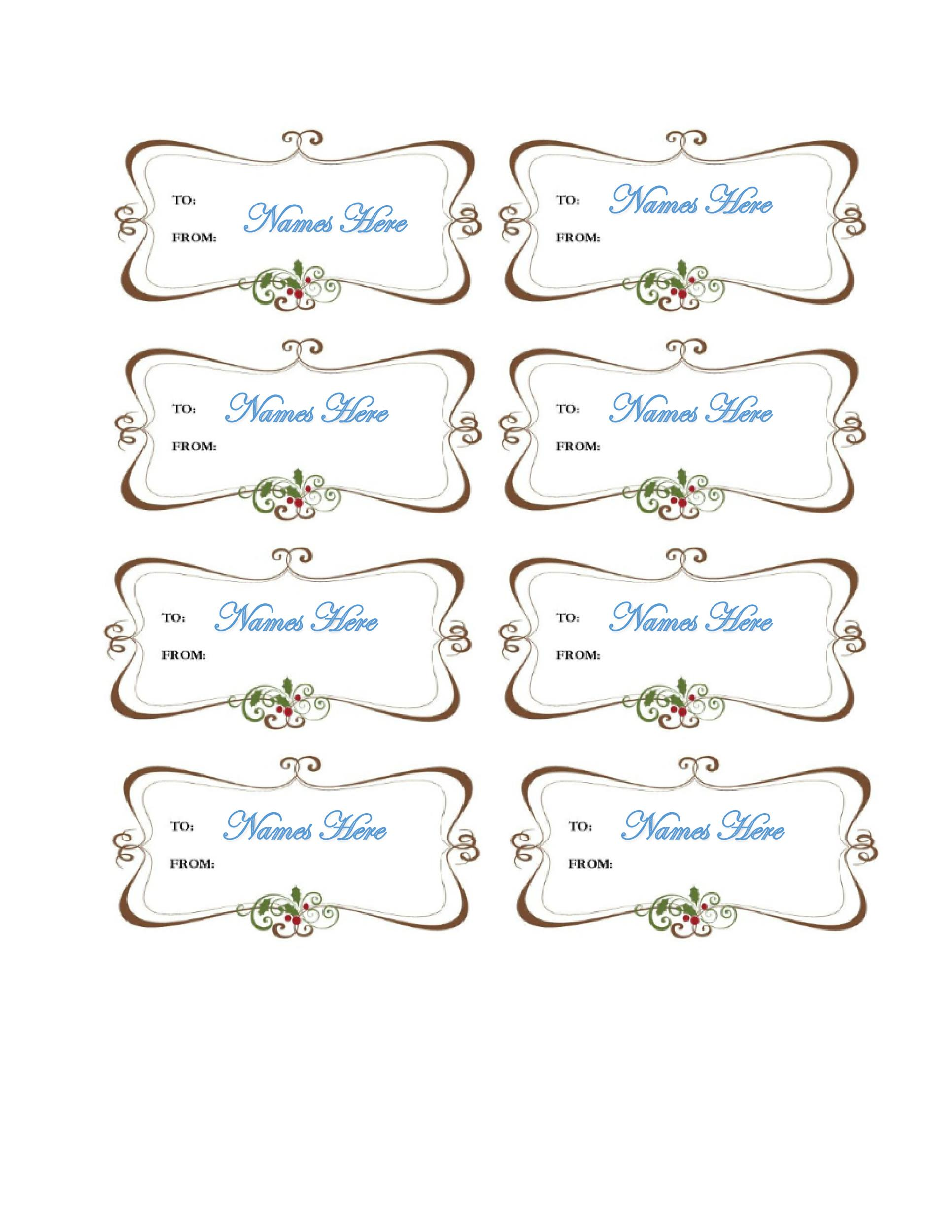 image regarding Free Printable Favor Tags referred to as 44 No cost Printable Reward Tag Templates ᐅ Template Lab