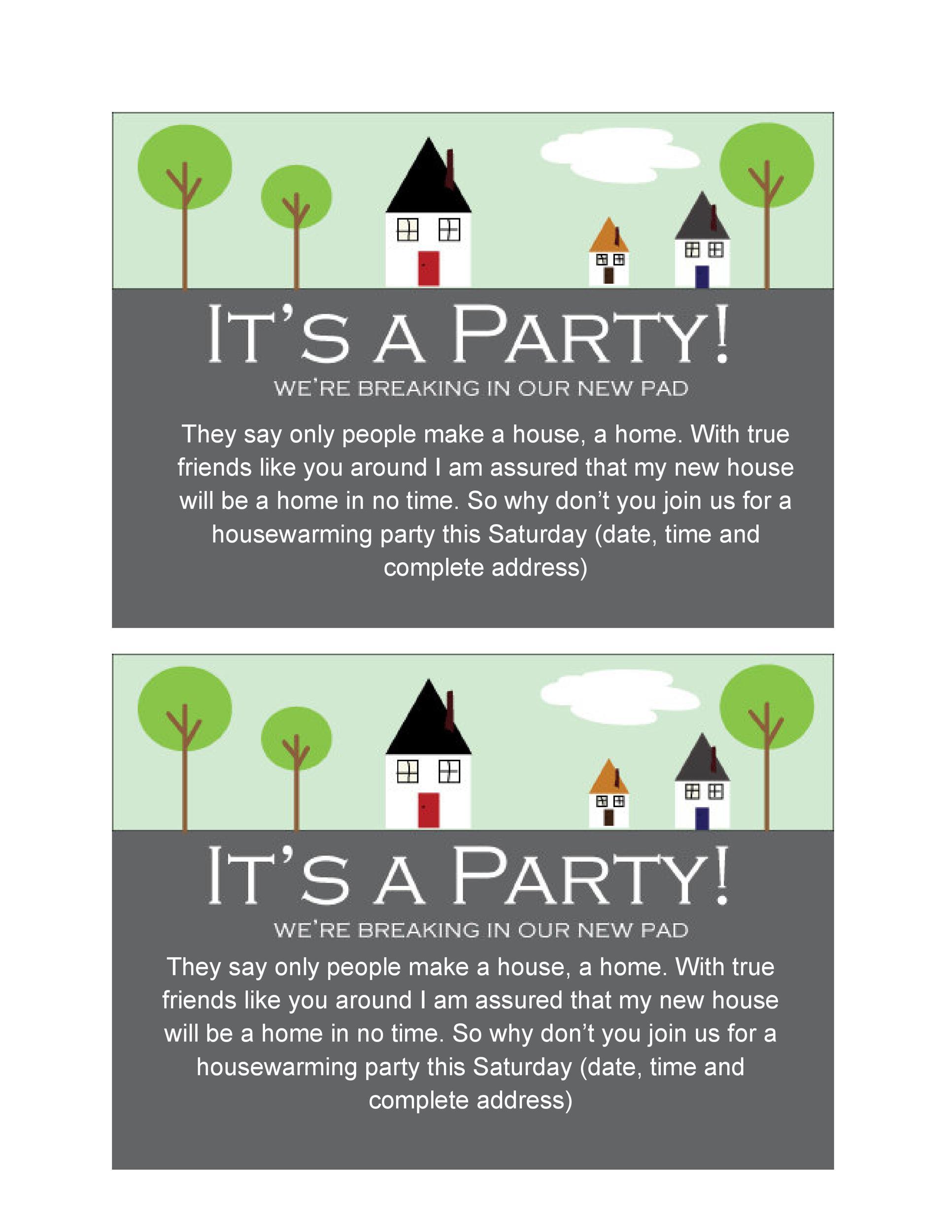 40 Free Printable Housewarming Party Invitation Templates – Housewarming Party Invite Template