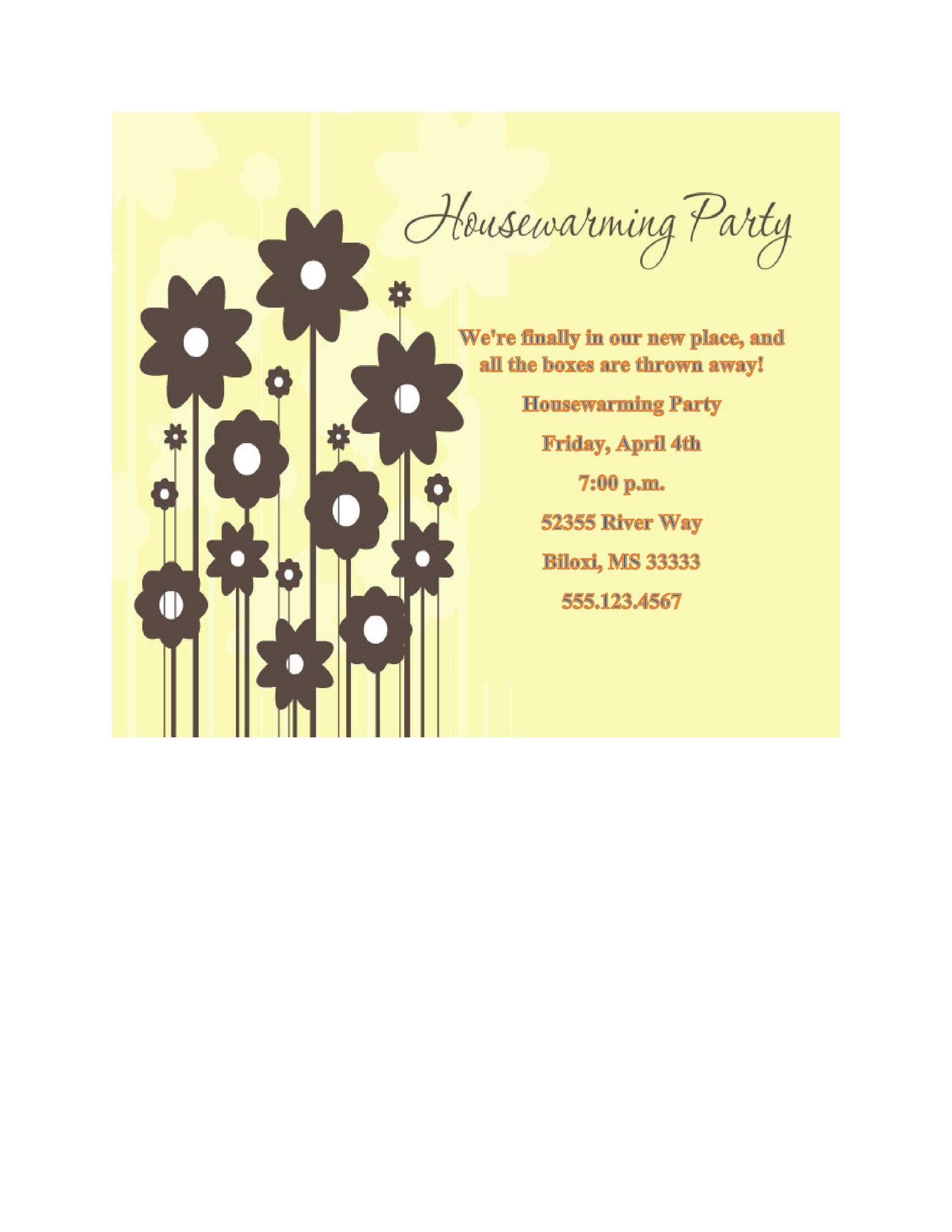 Free Housewarming Invitation Template 14 Printable Housewarming Invitation  Template 14