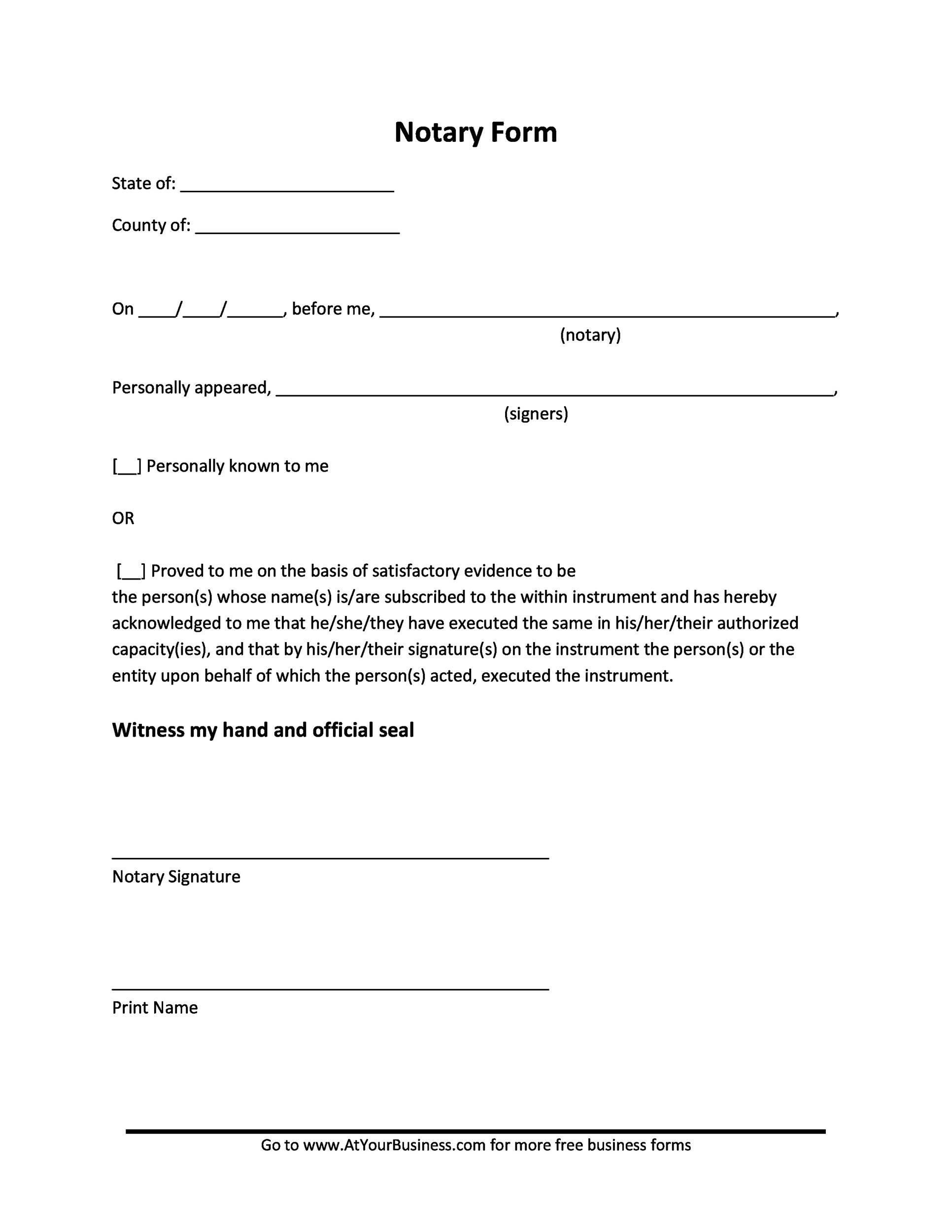 Free Notarized Letter Template 02
