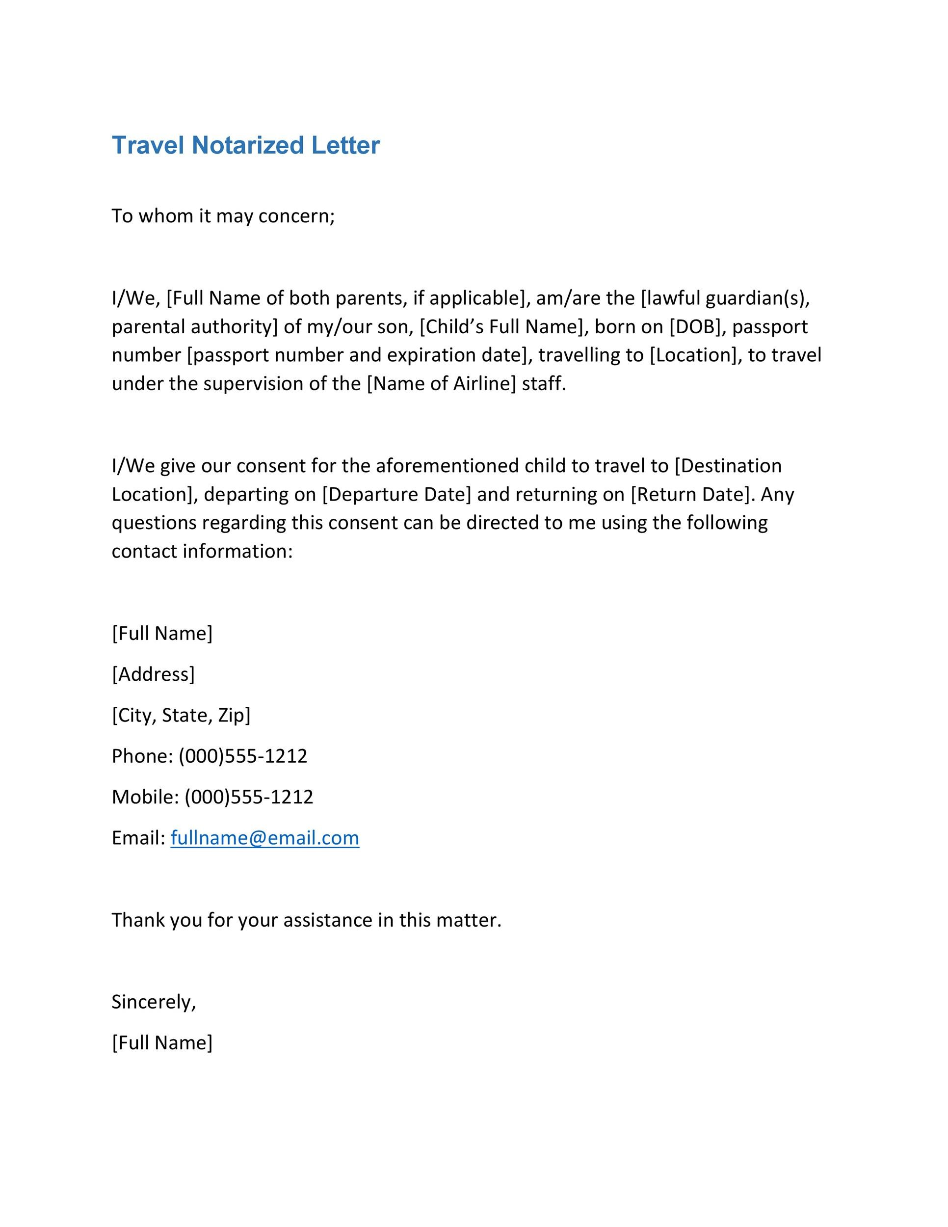 Free Notarized Letter Template 12