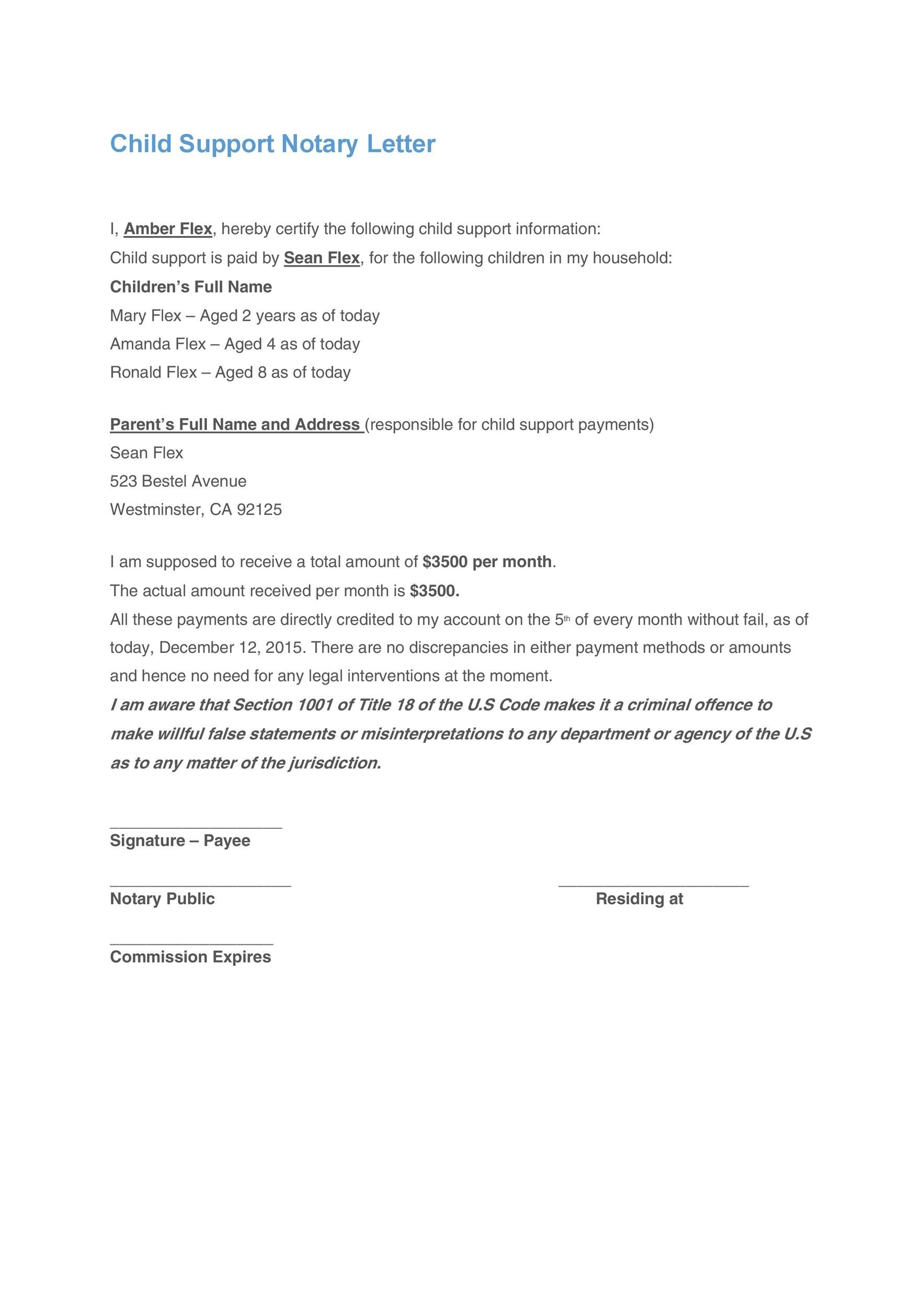 Notarized Letter For Child Support  Template