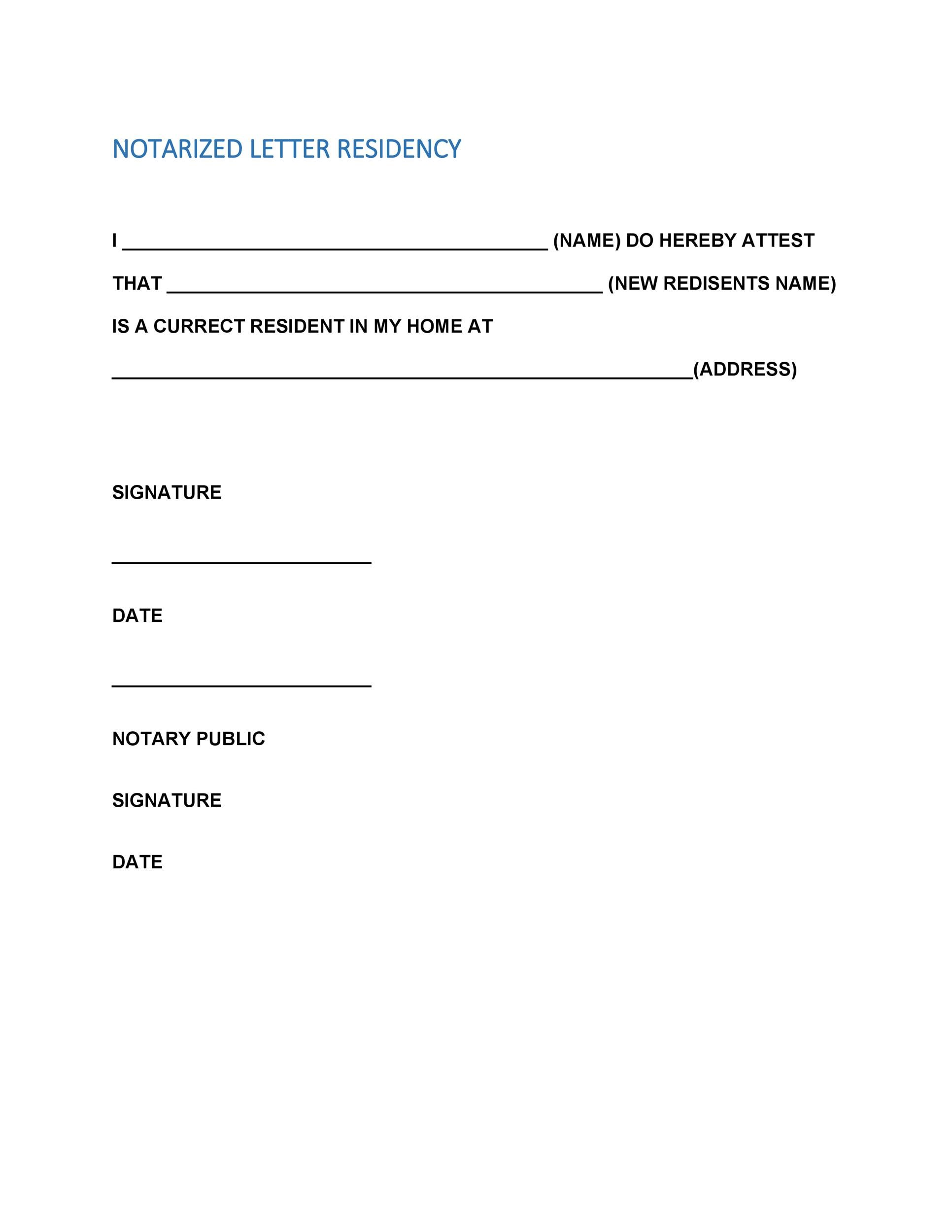 Notarized Letter Template For Residency | Docoments Ojazlink