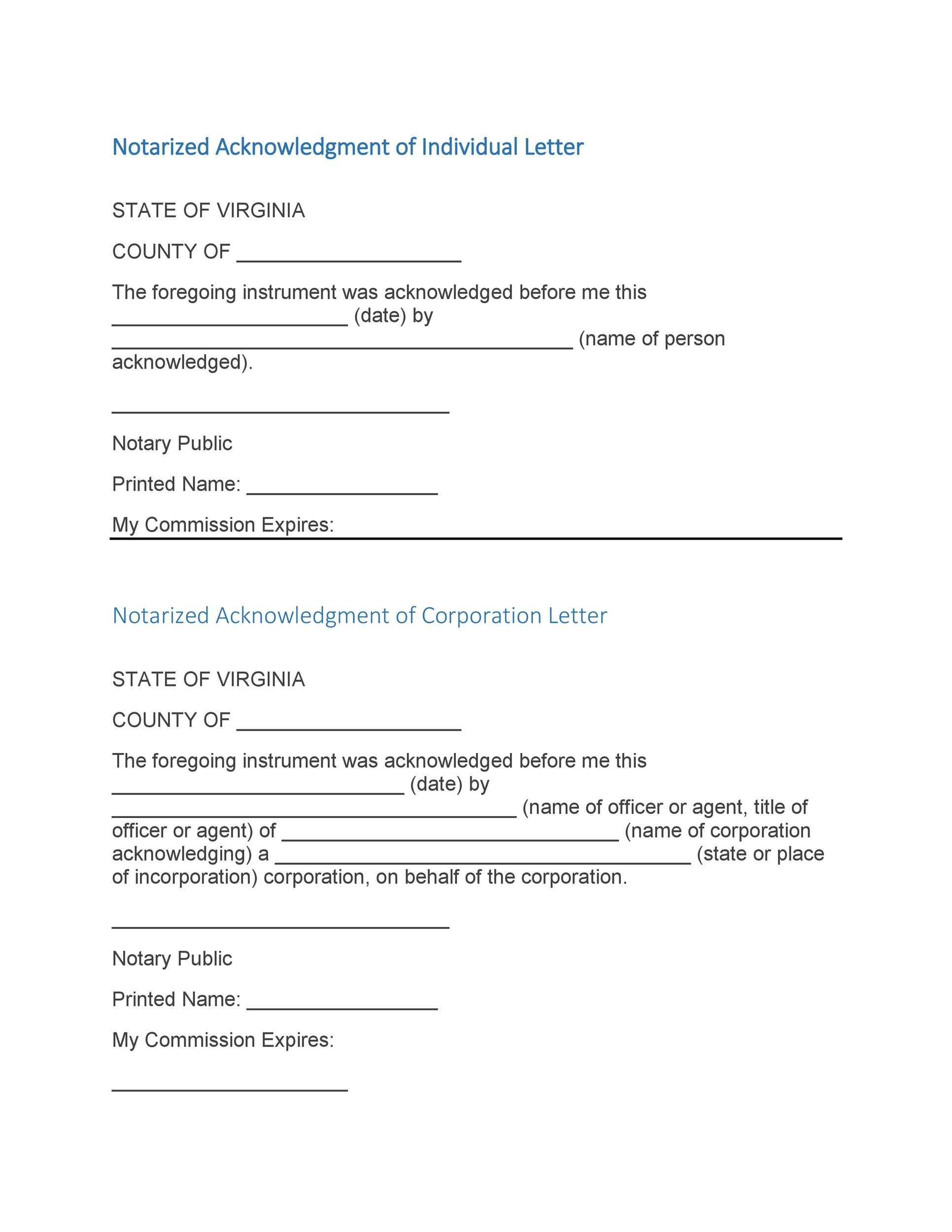 Free Notarized Letter Template 25