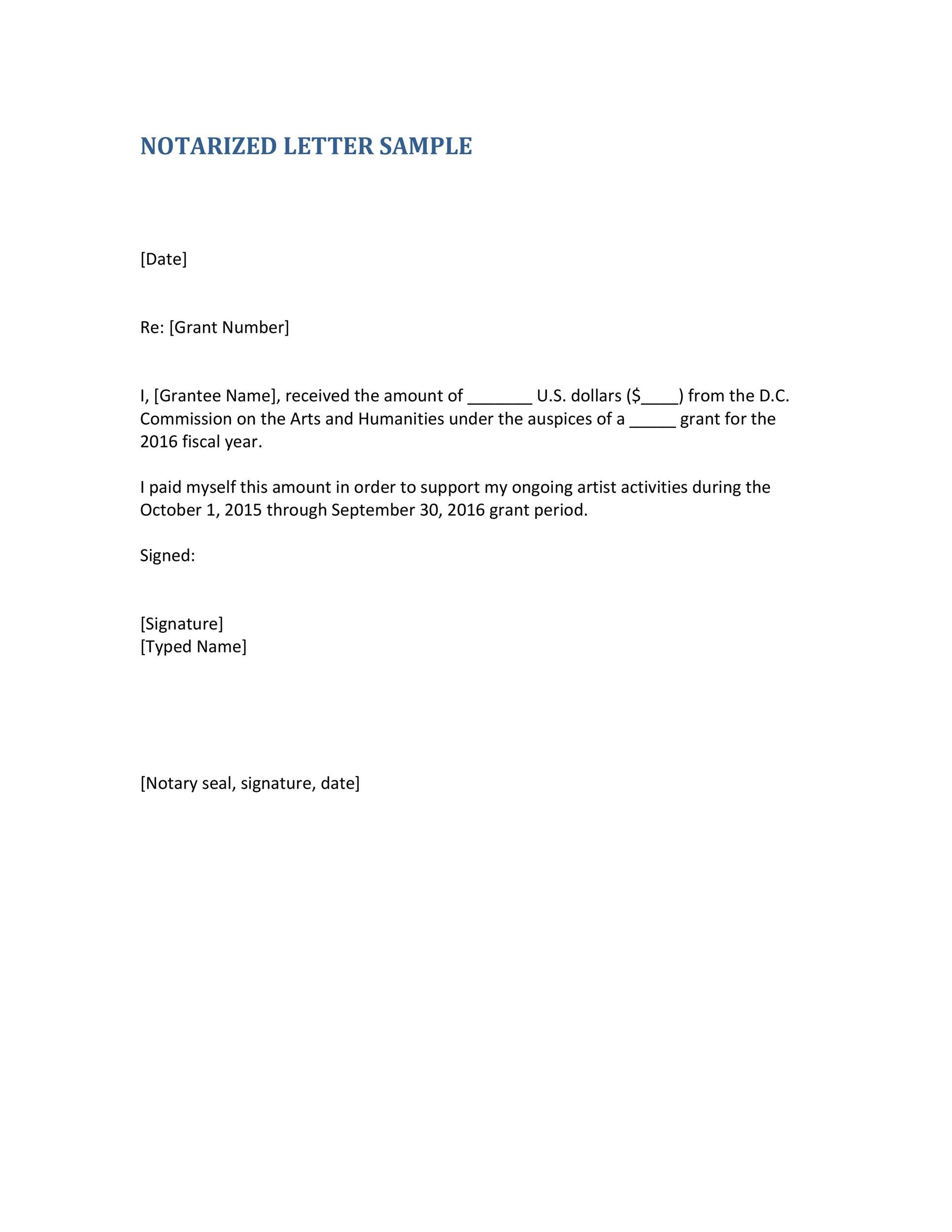 Free Notarized Letter Template 27