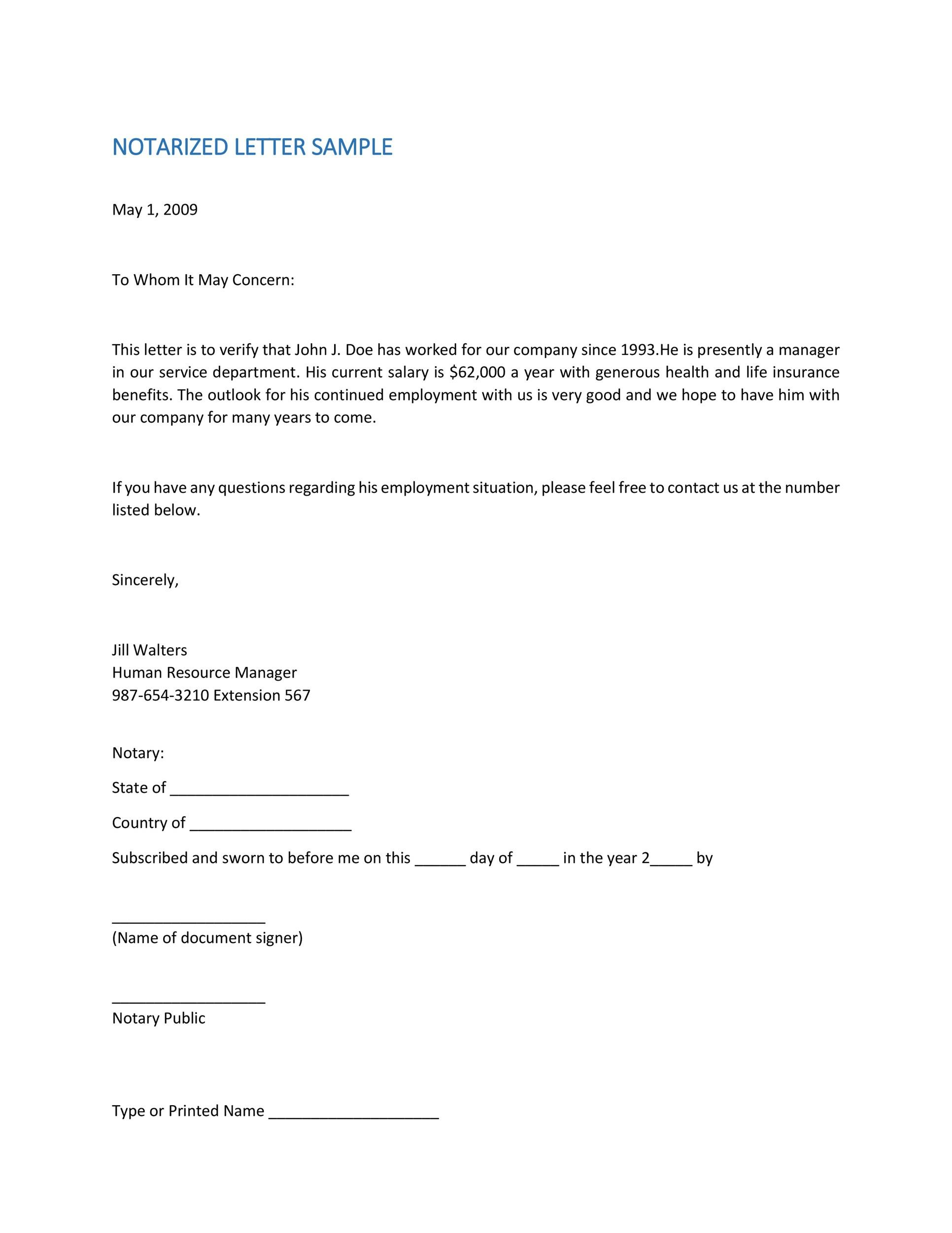 letter template with notary  14+ Professional Notarized Letter Templates ᐅ Template Lab
