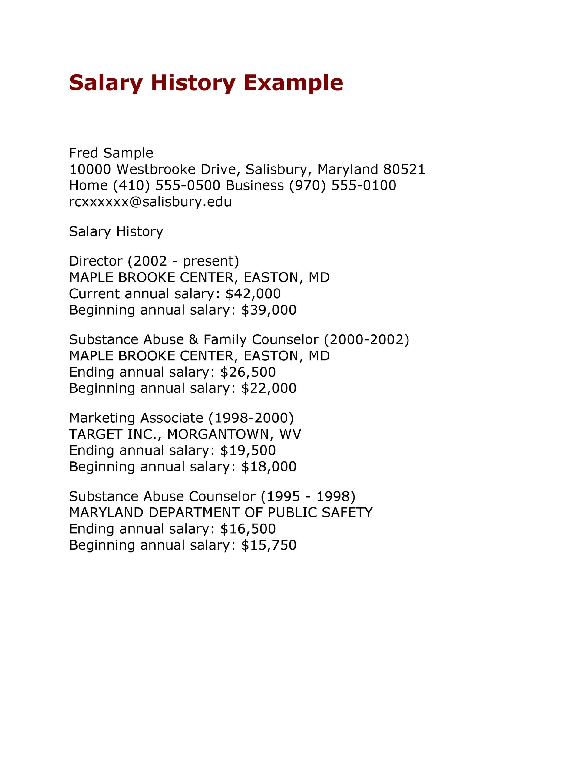 19 great salary history templates samples template lab for Salary history template hourly