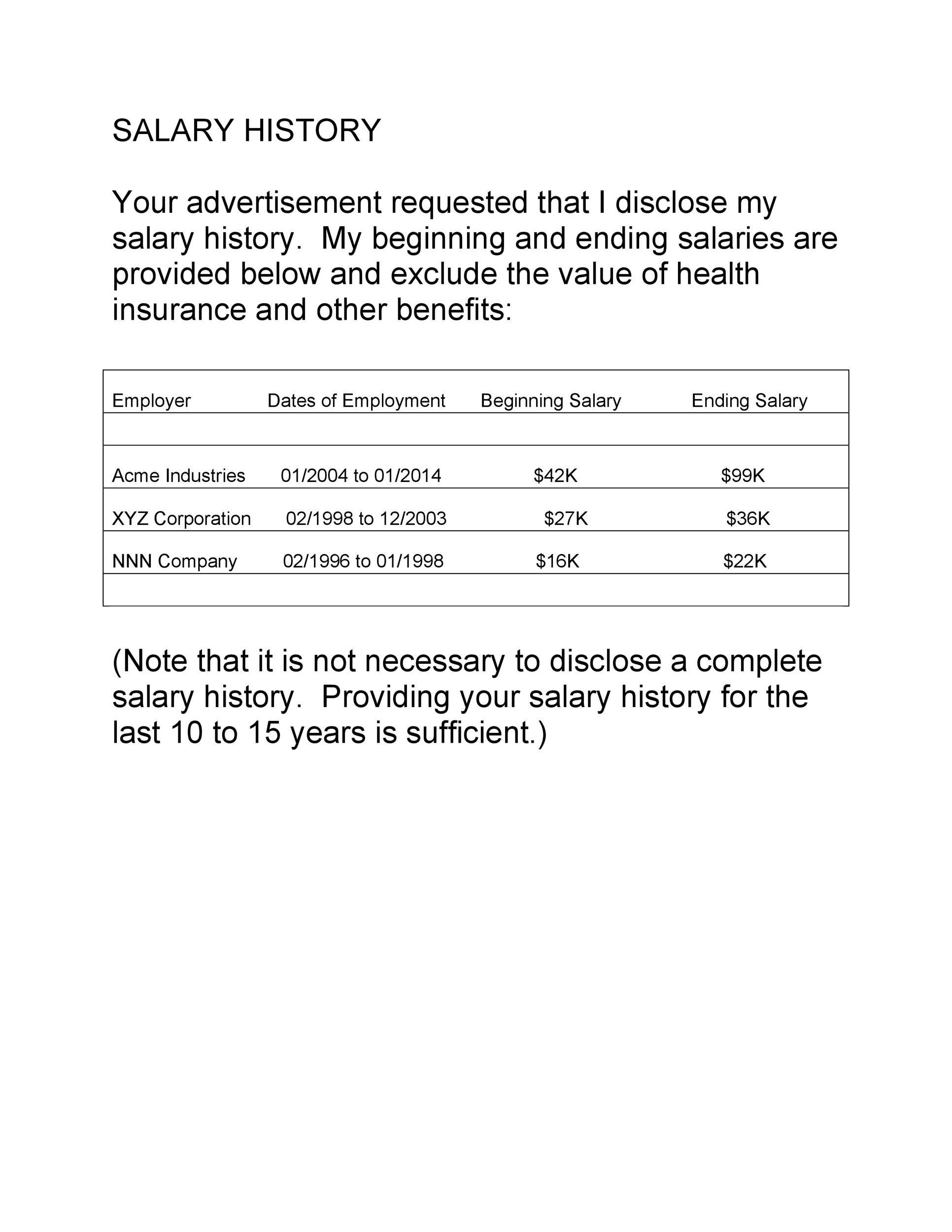 Free Salary History Template 10