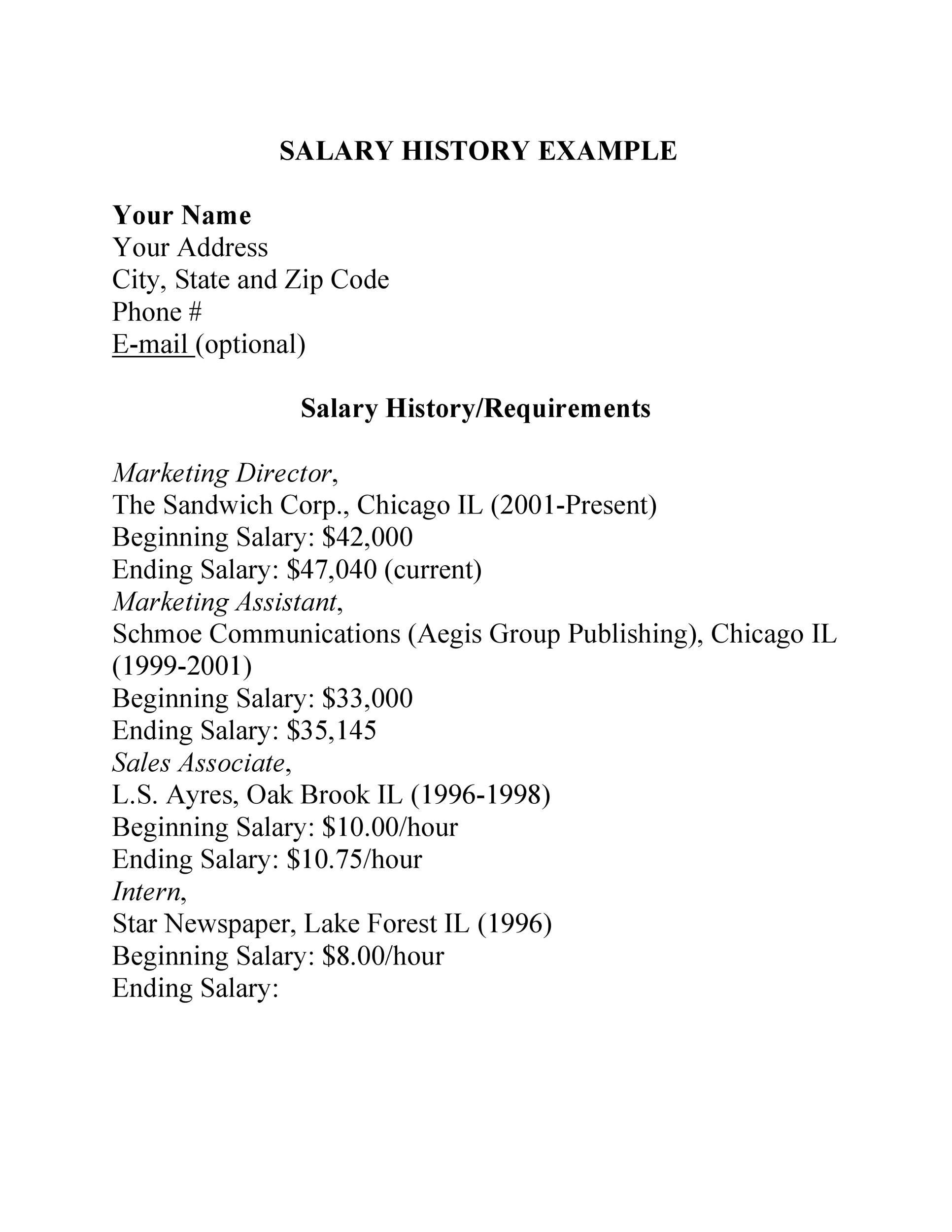 Salary History Template 16
