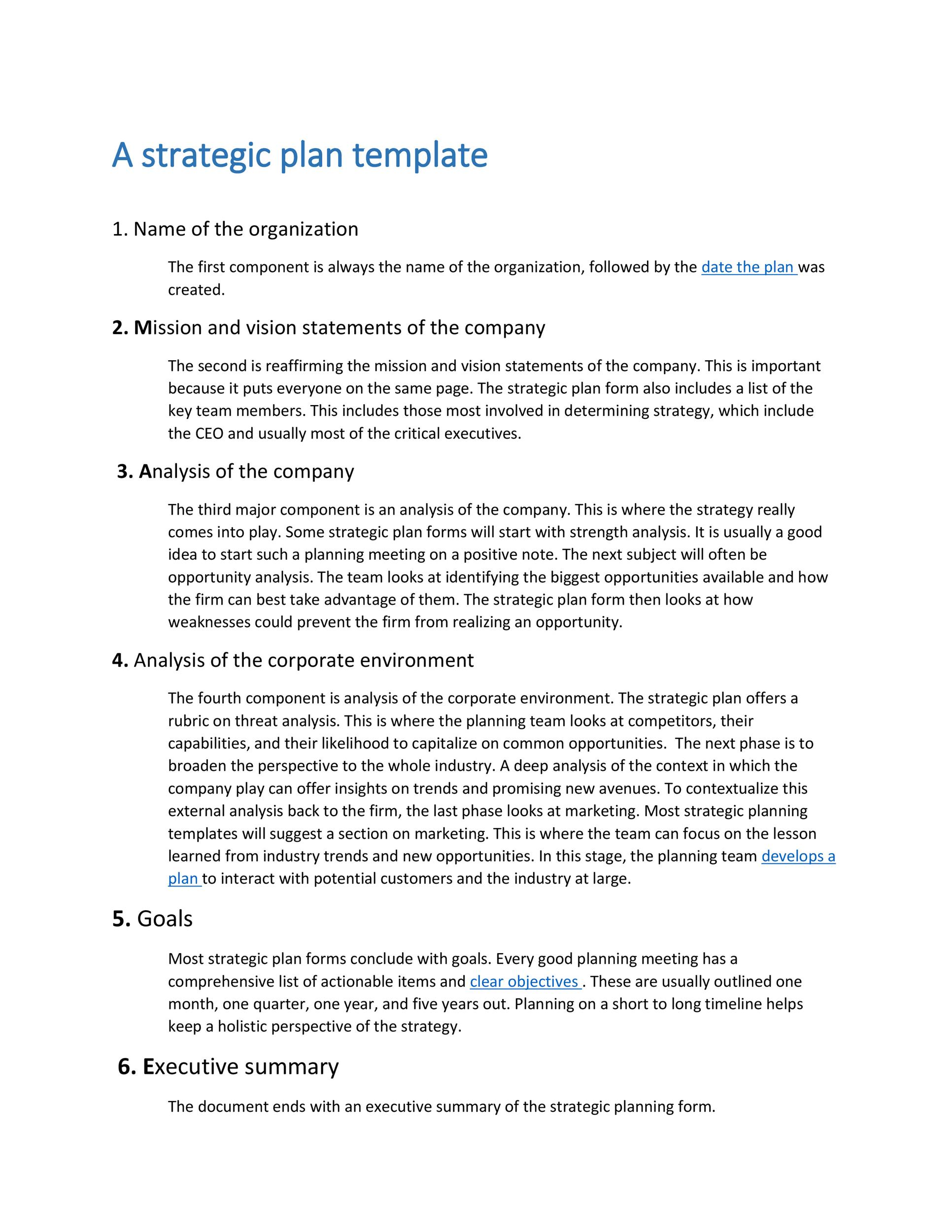 Free Strategic Plan Template 08