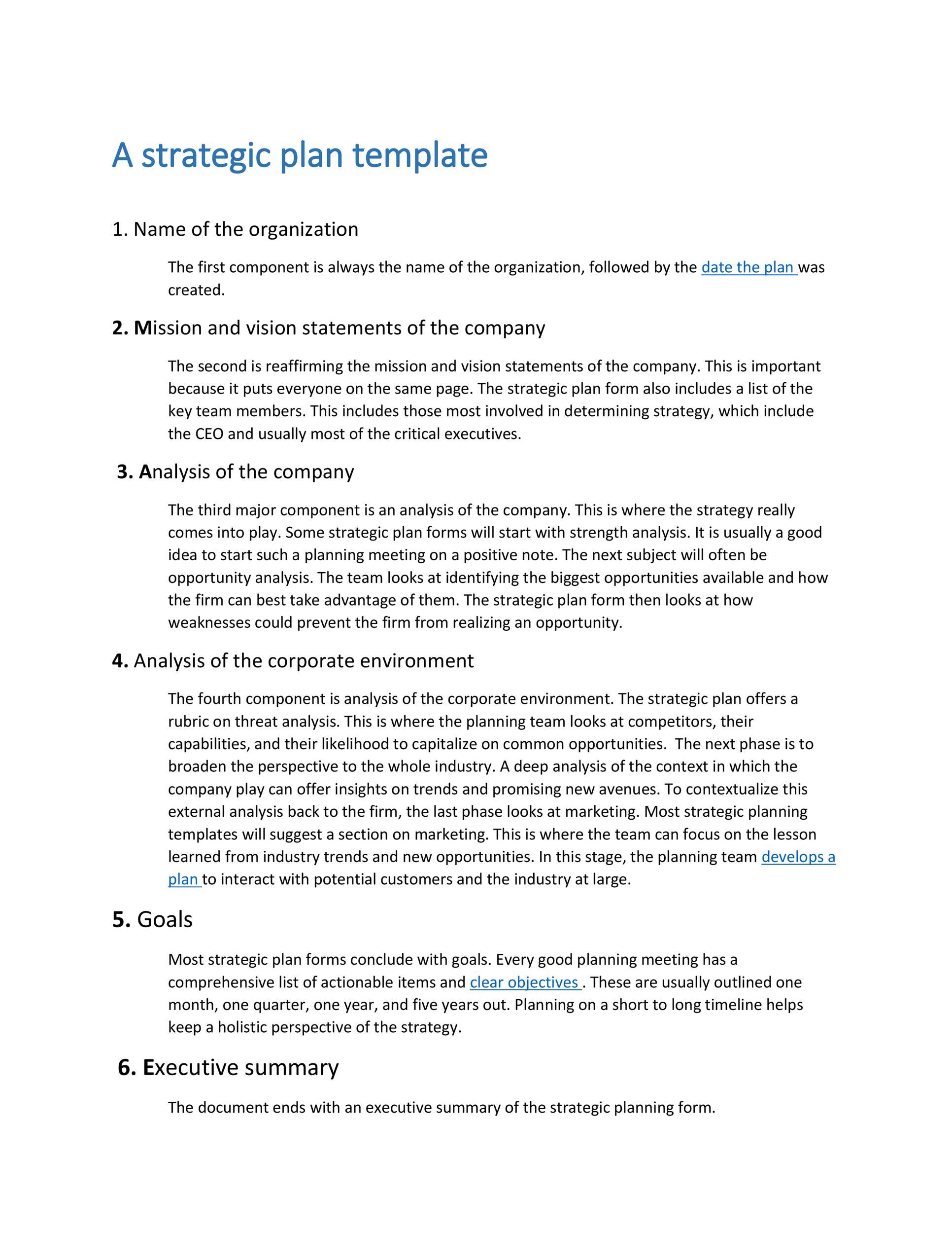 Free Strategic Plan Template 08