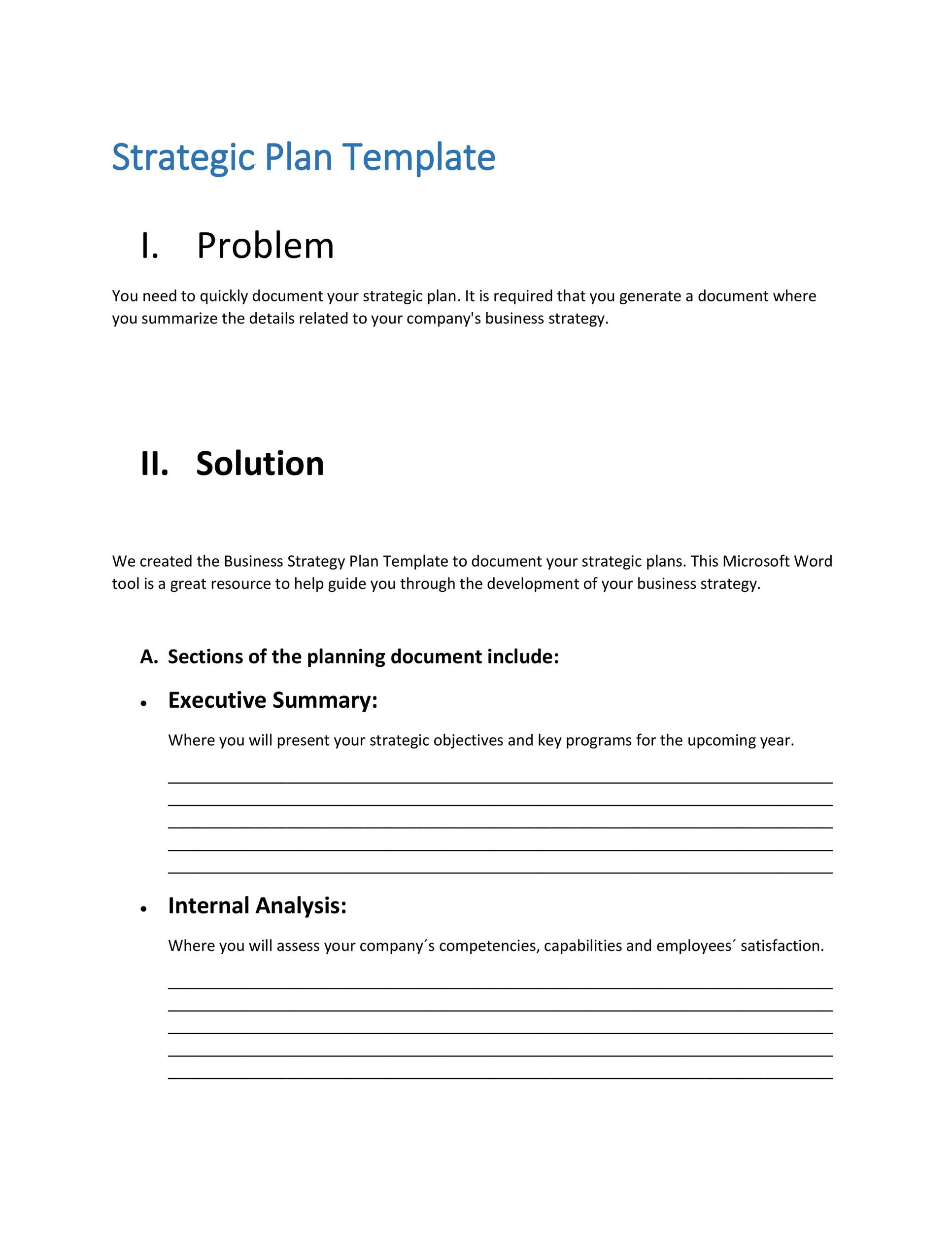 32 great strategic plan templates to grow your business printable strategic plan template 09 flashek Images