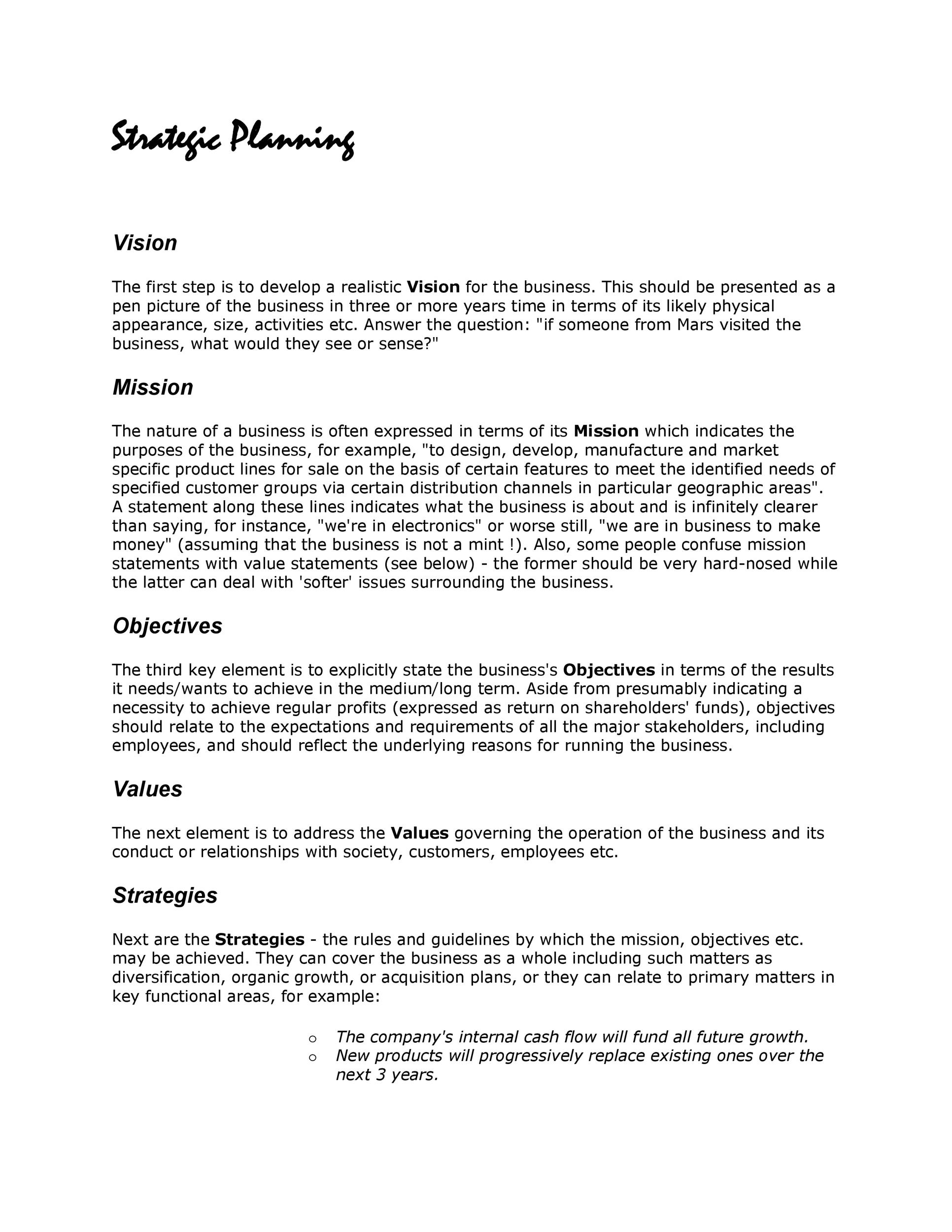 Strategic Plan Template Doc from templatelab.com