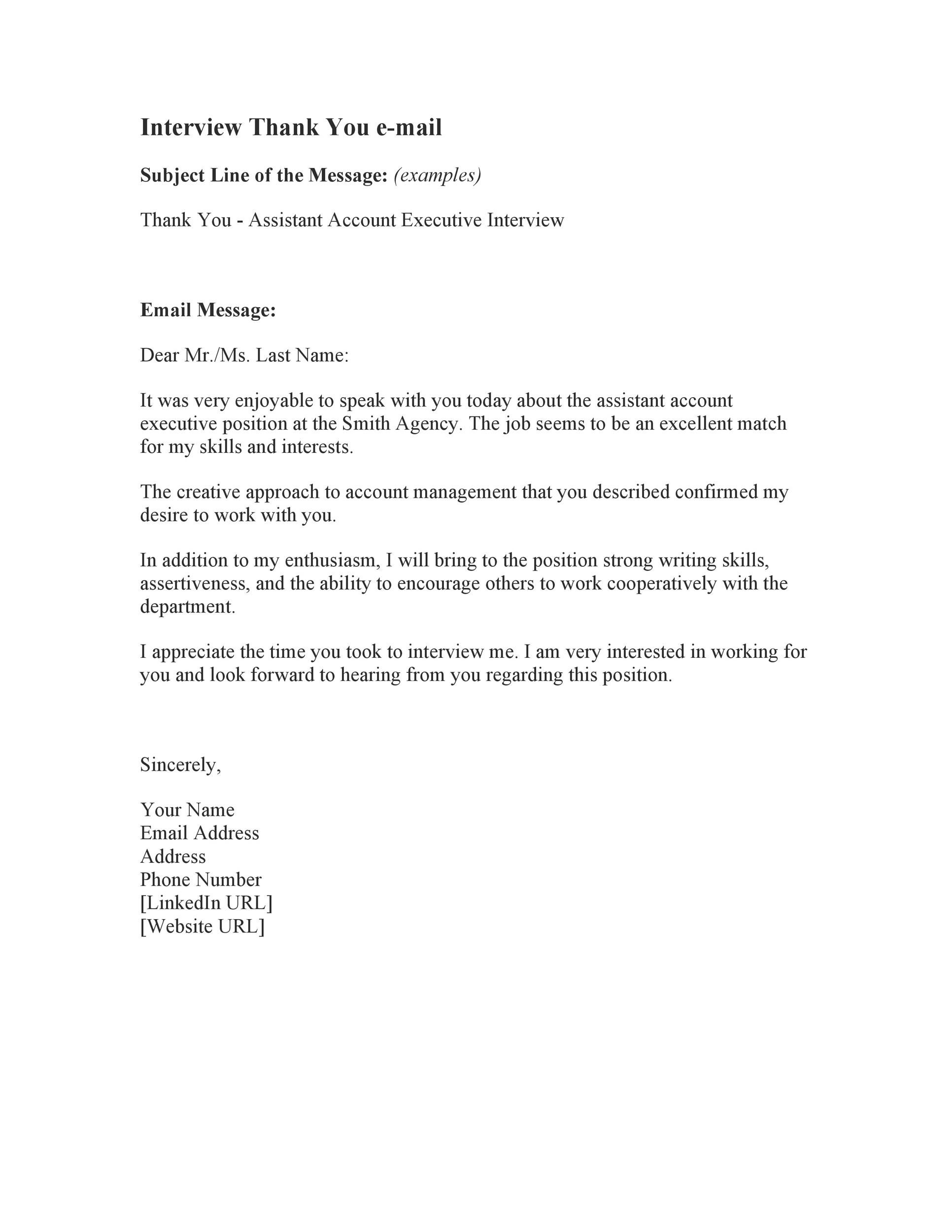 40 thank you email after interview templates  u1405 templatelab