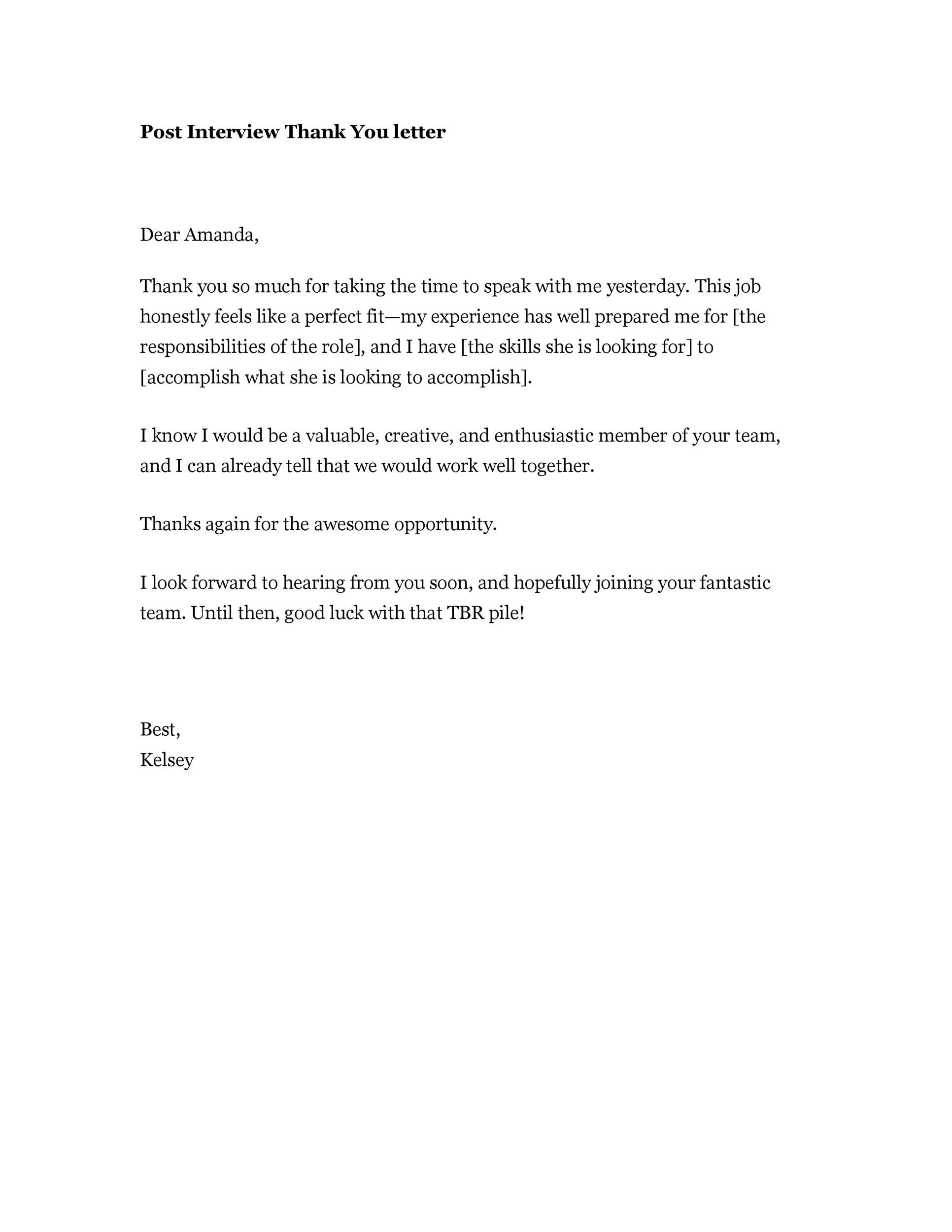 sample email thank you letter after interview   Hadi.palmex.co