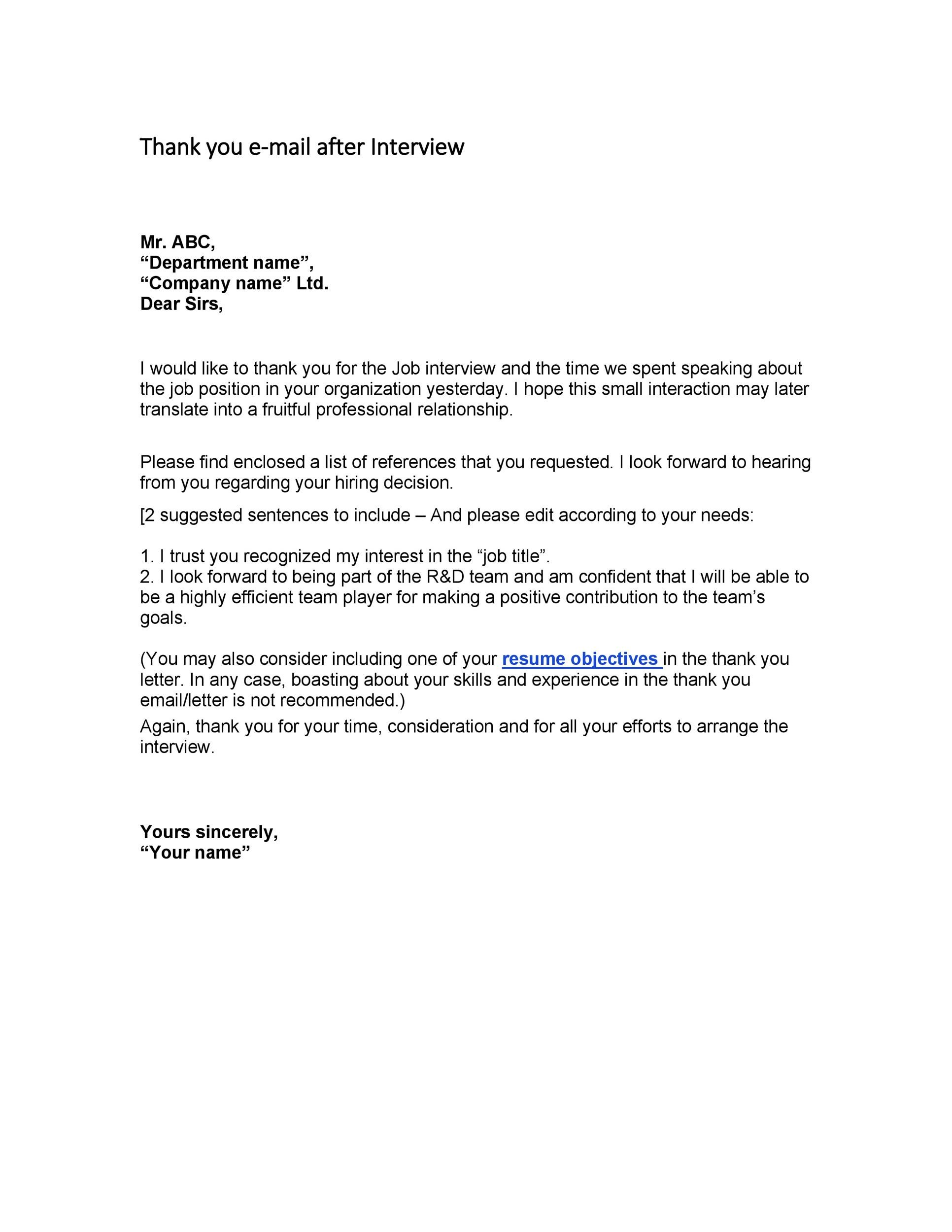 interview thank you letter template
