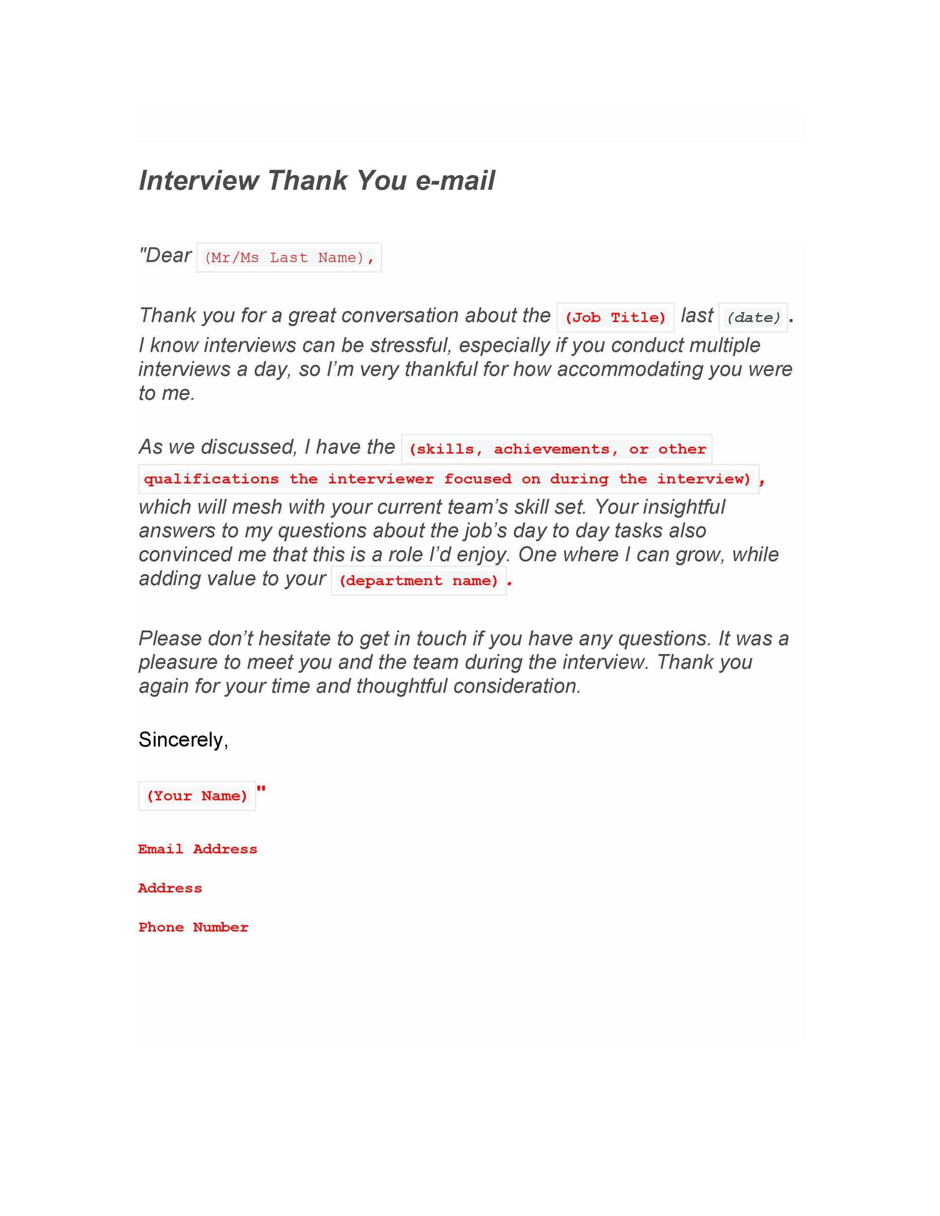 Free Thank you e-mail after Interview Template 13