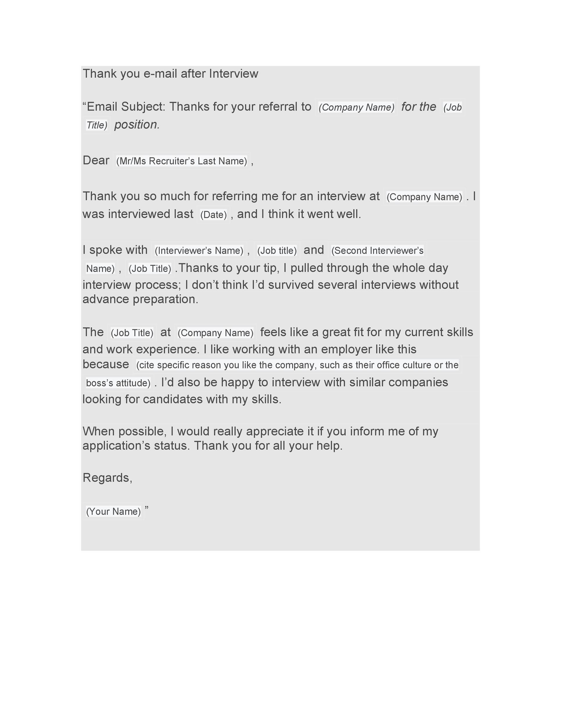 Free Thank you e-mail after Interview Template 18