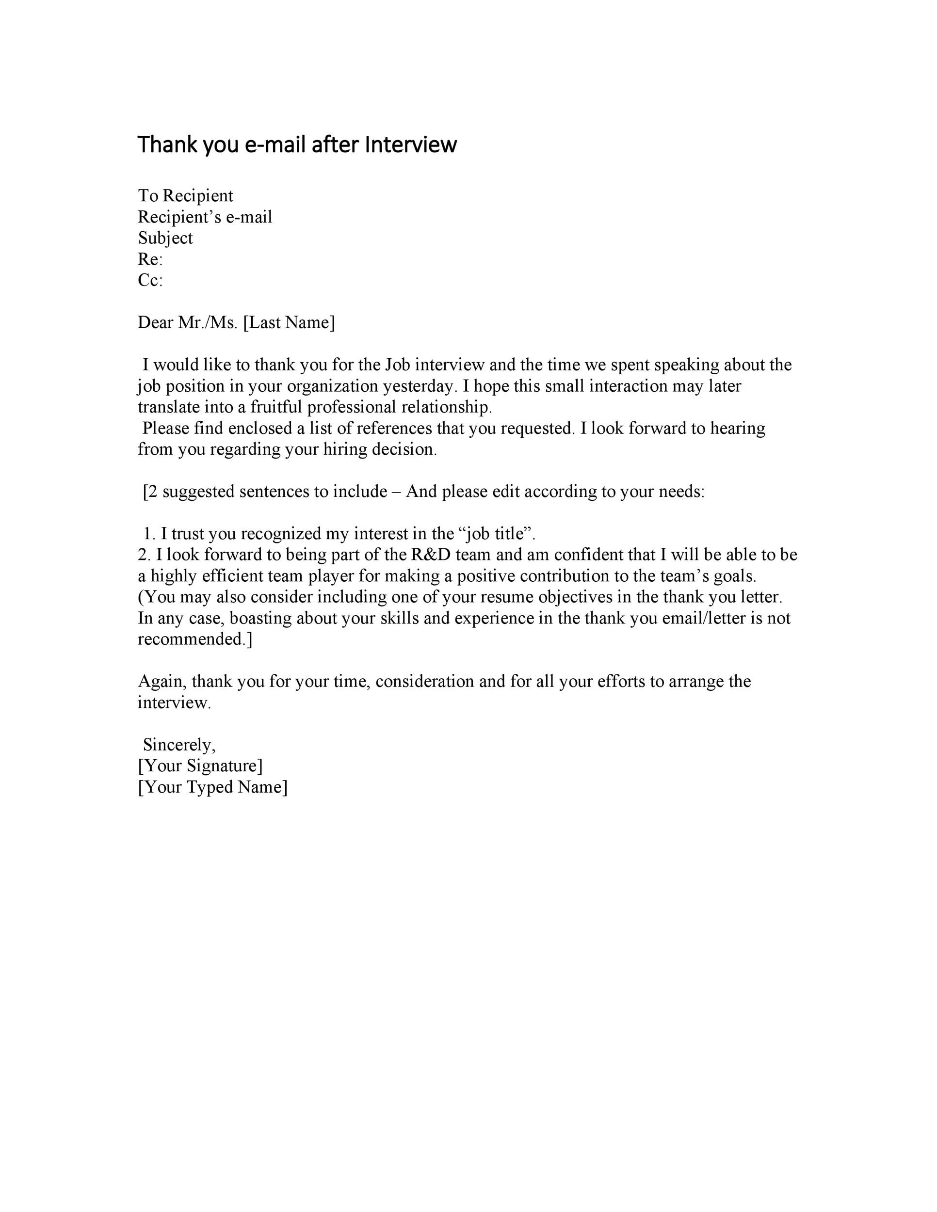 Free Thank you e-mail after Interview Template 19