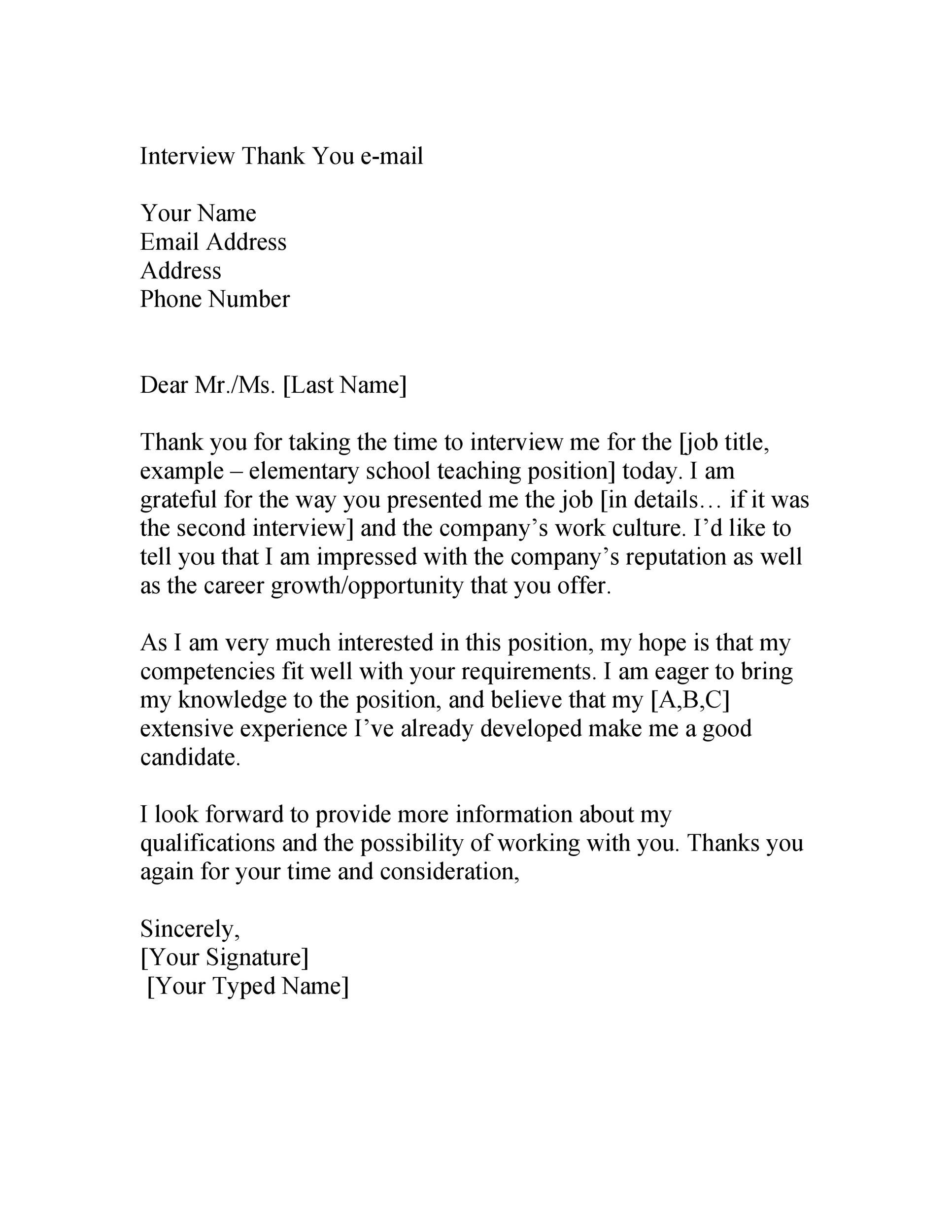 Free Thank you e-mail after Interview Template 20