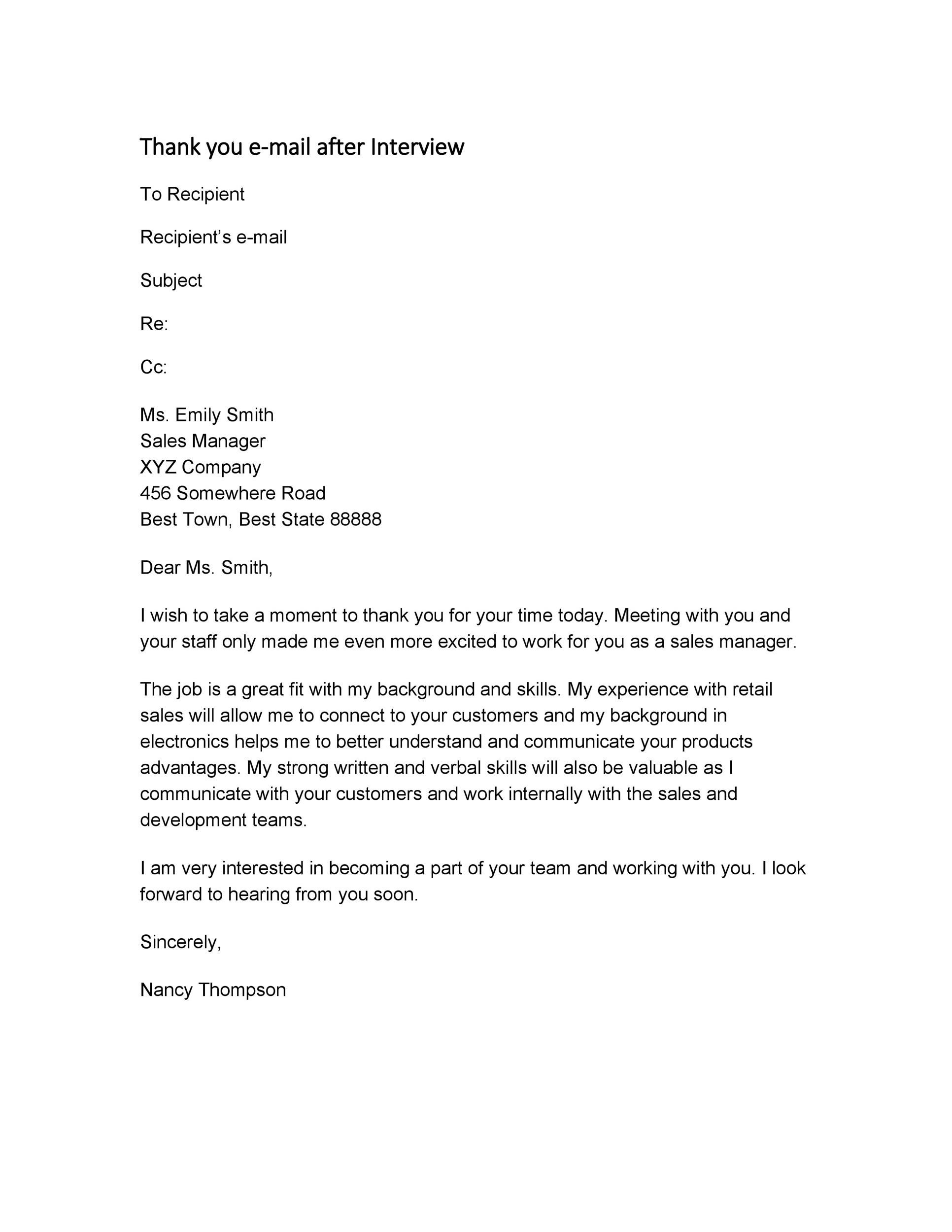 Free Thank you e-mail after Interview Template 29