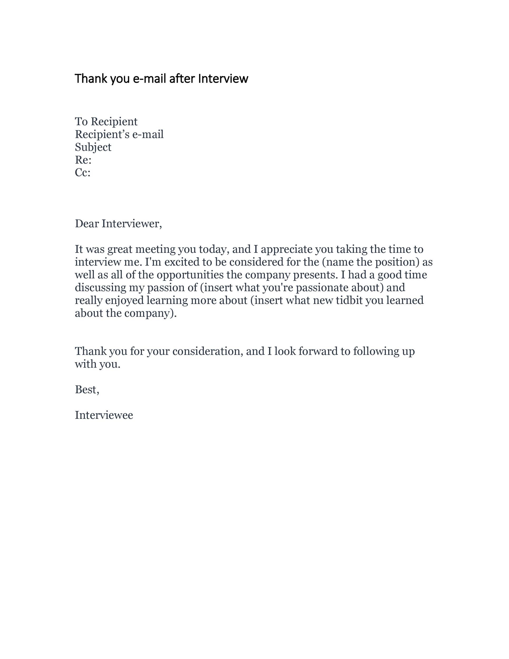 Free Thank you e-mail after Interview Template 32