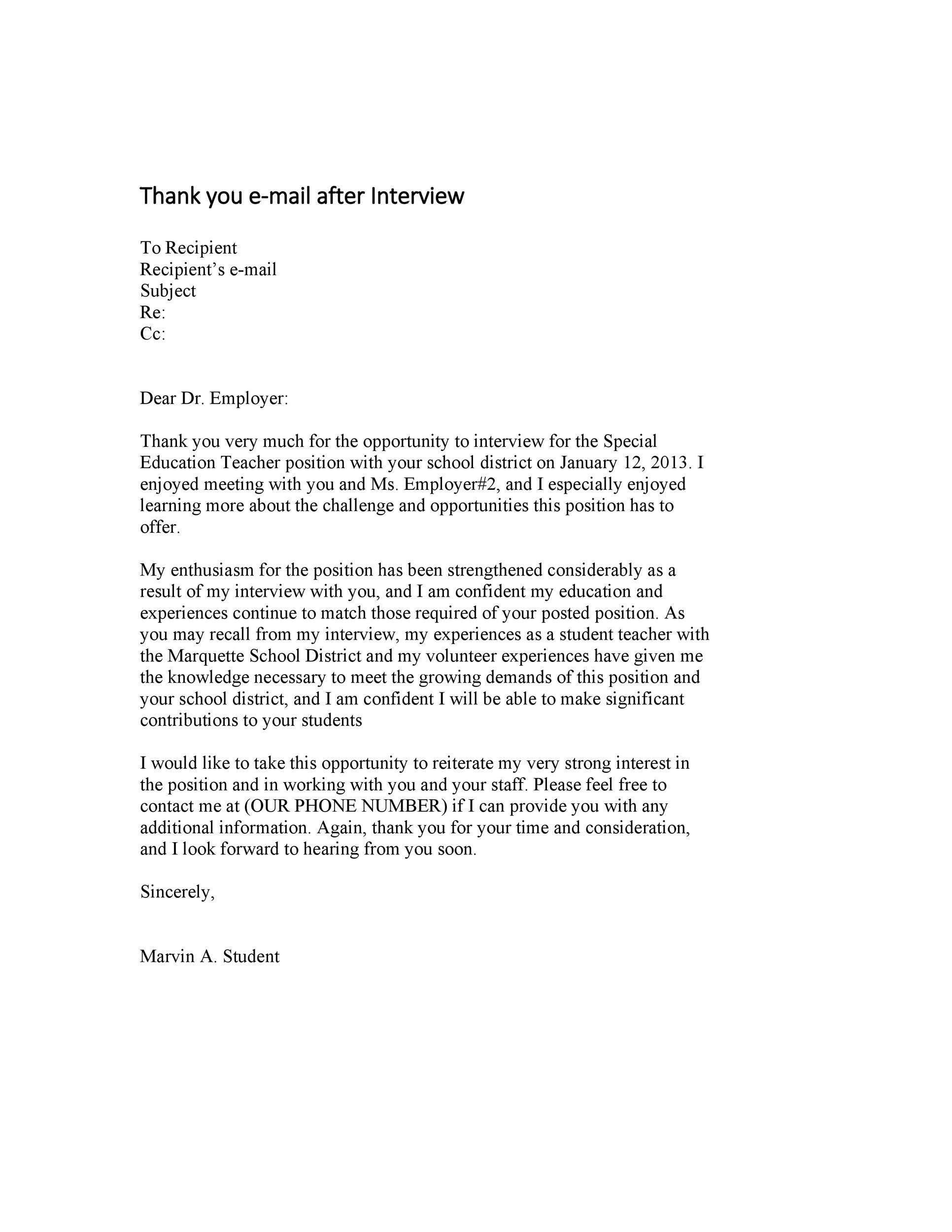 Free Thank you e-mail after Interview Template 34