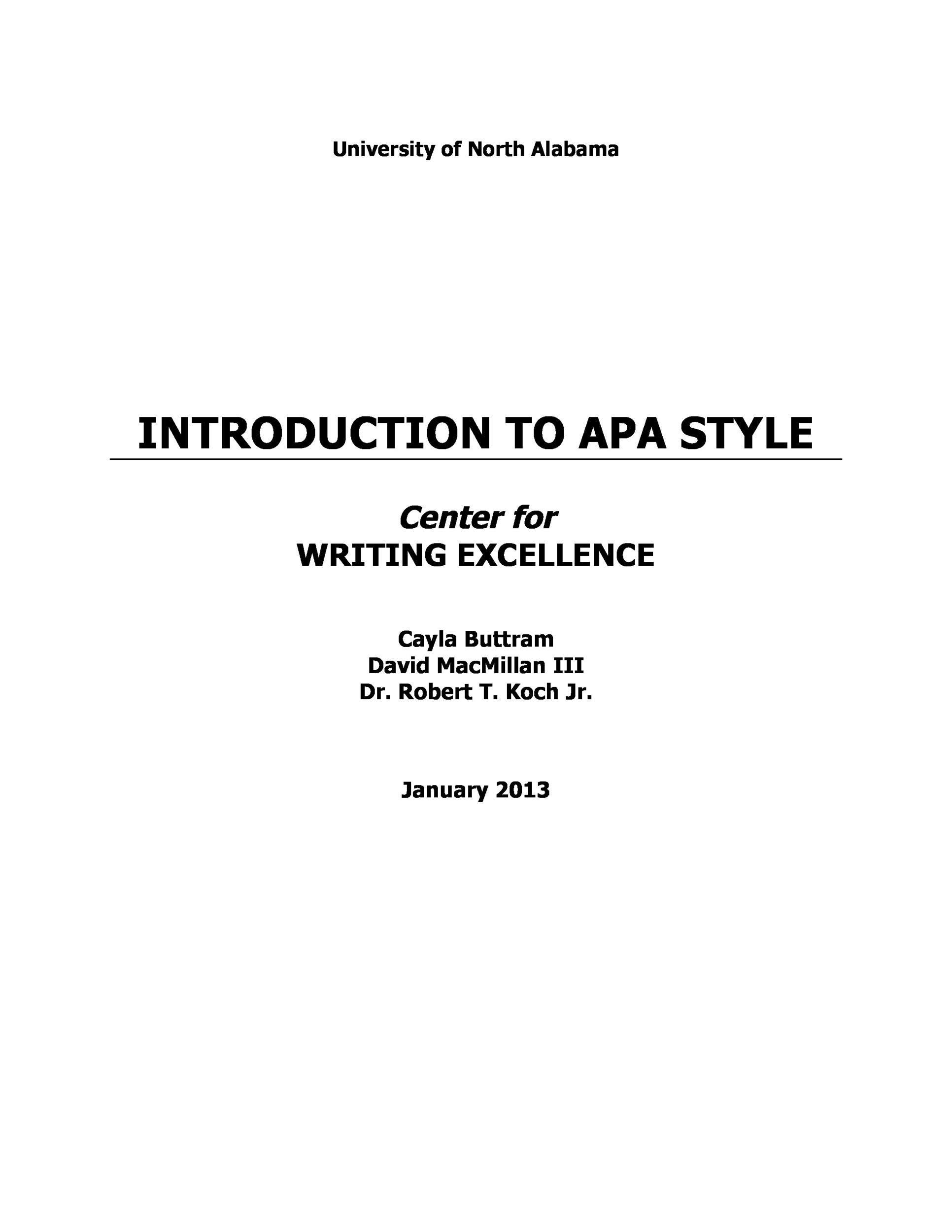 Apa intro page apa essay example