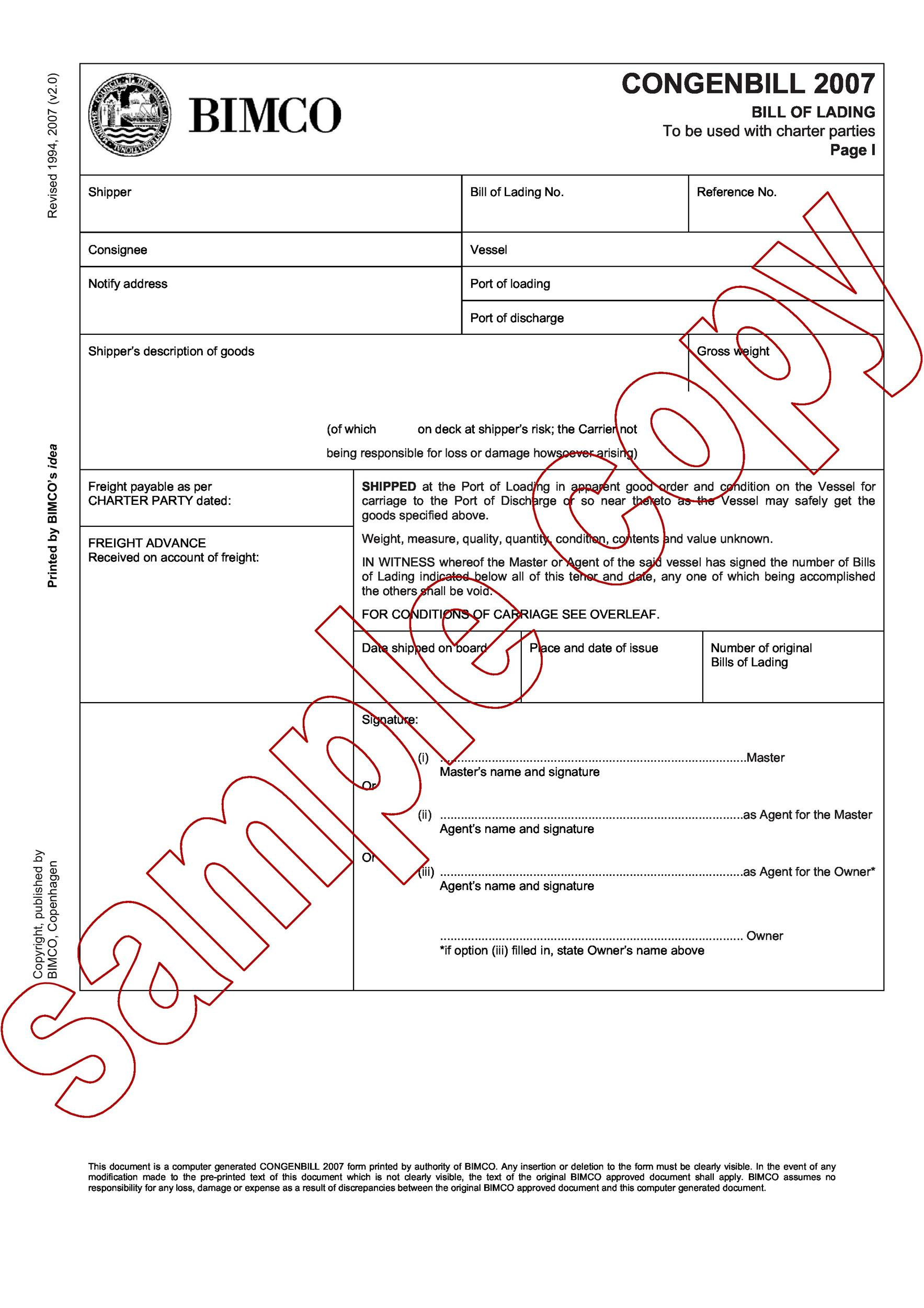 40 Free Bill of Lading Forms Templates Template Lab – Sample of Bill of Lading Document