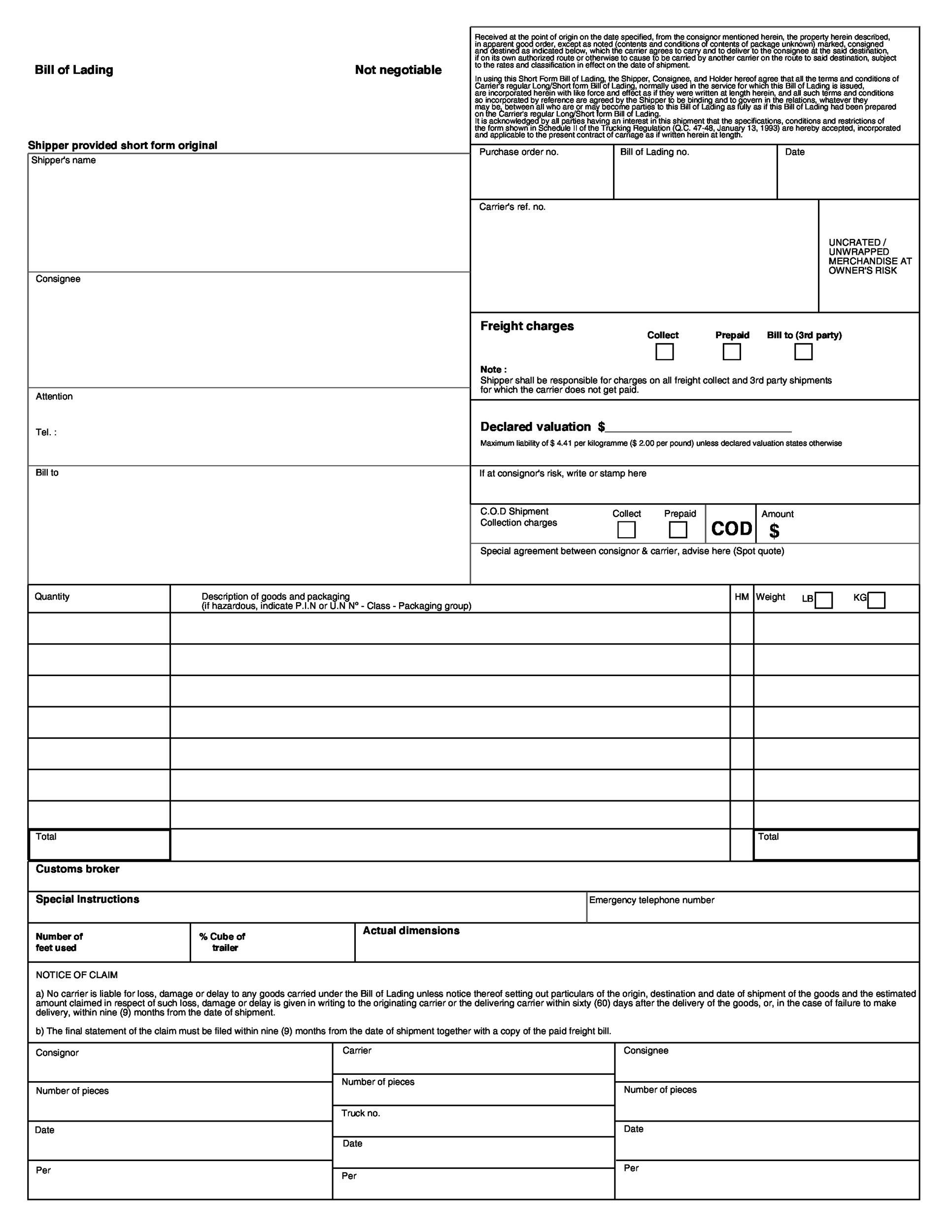 Printable Bill Of Lading 07  Free Bill Of Lading Template