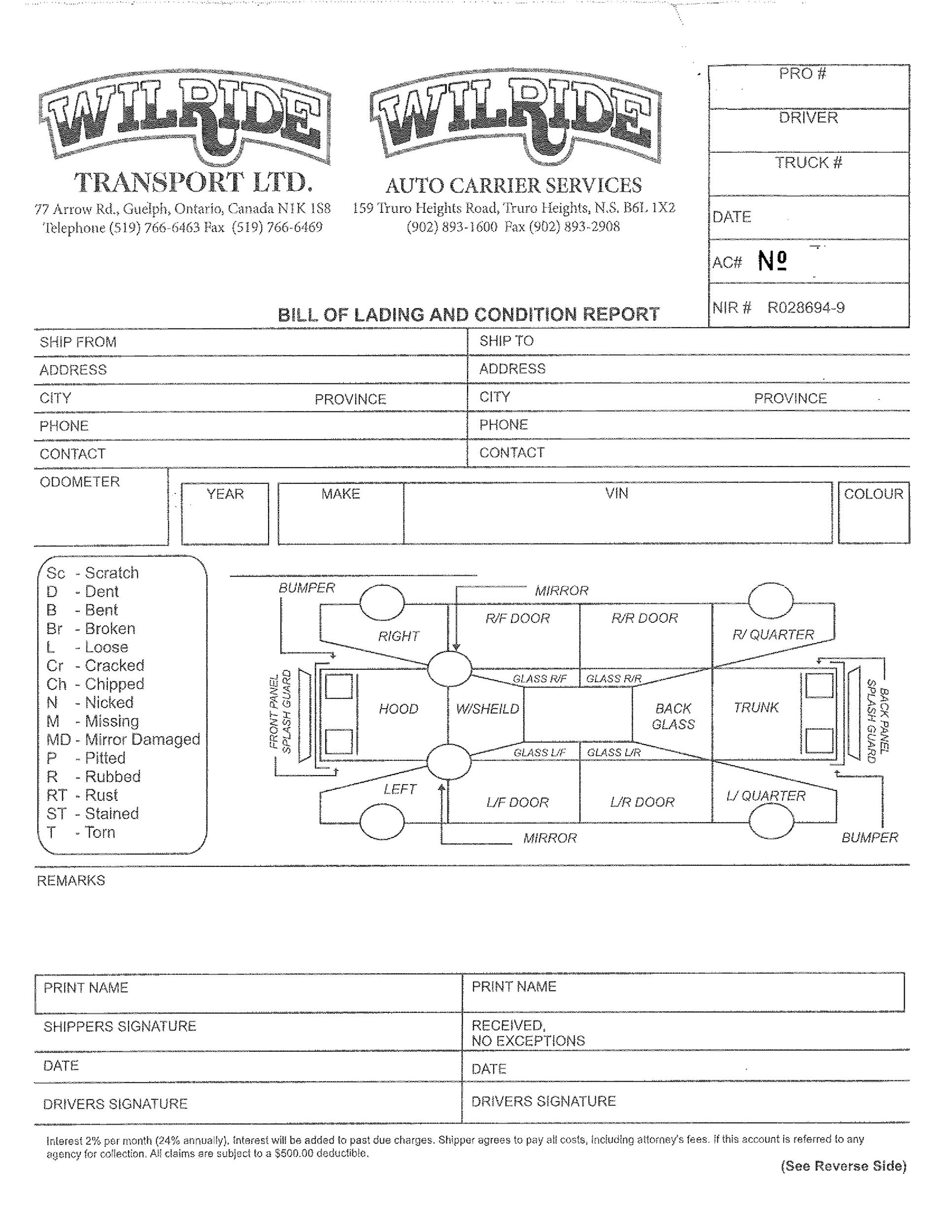 Bill of lading terms and conditions template choice image for Bill of lading terms and conditions template