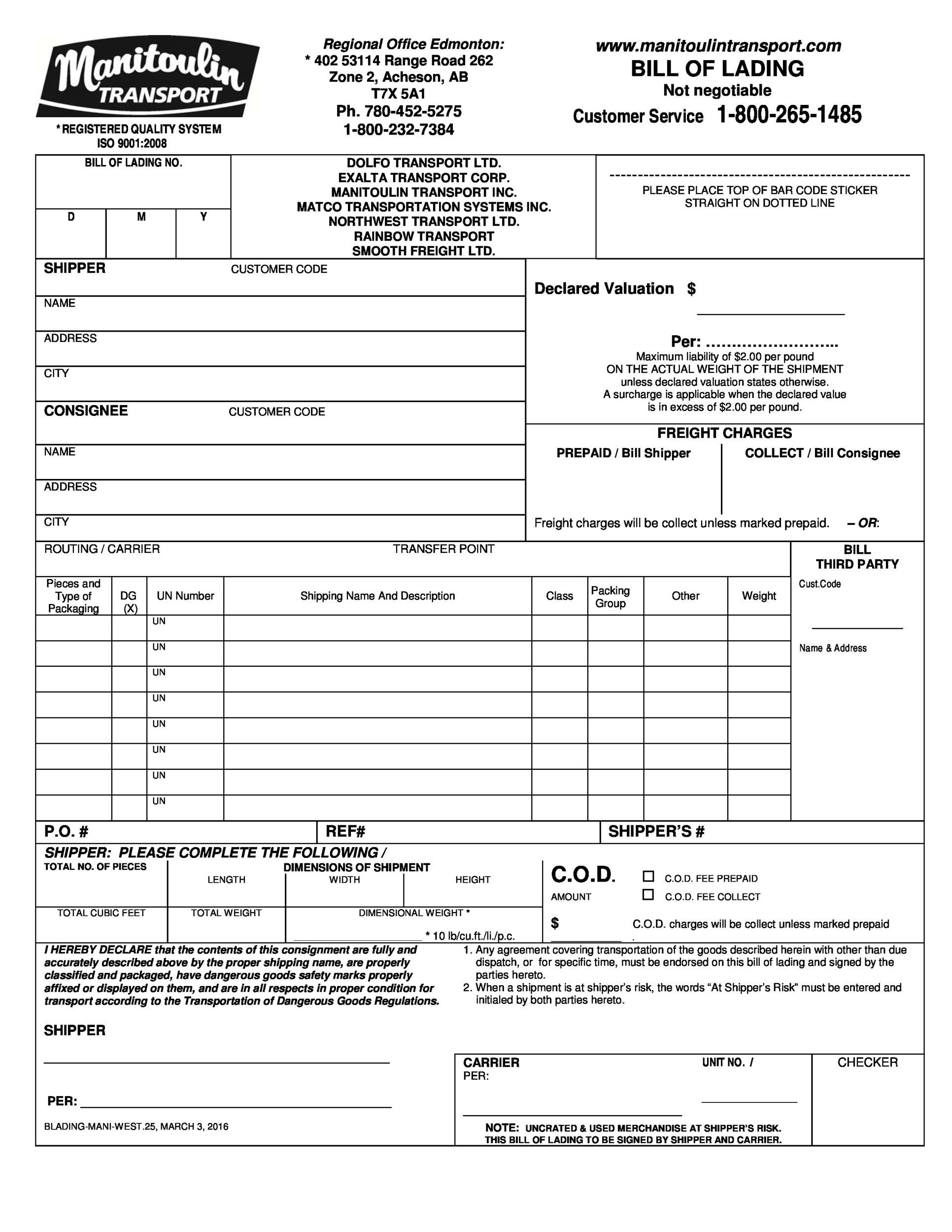 40 Free Bill of Lading Forms Templates Template Lab – Bill of Lading Template Word