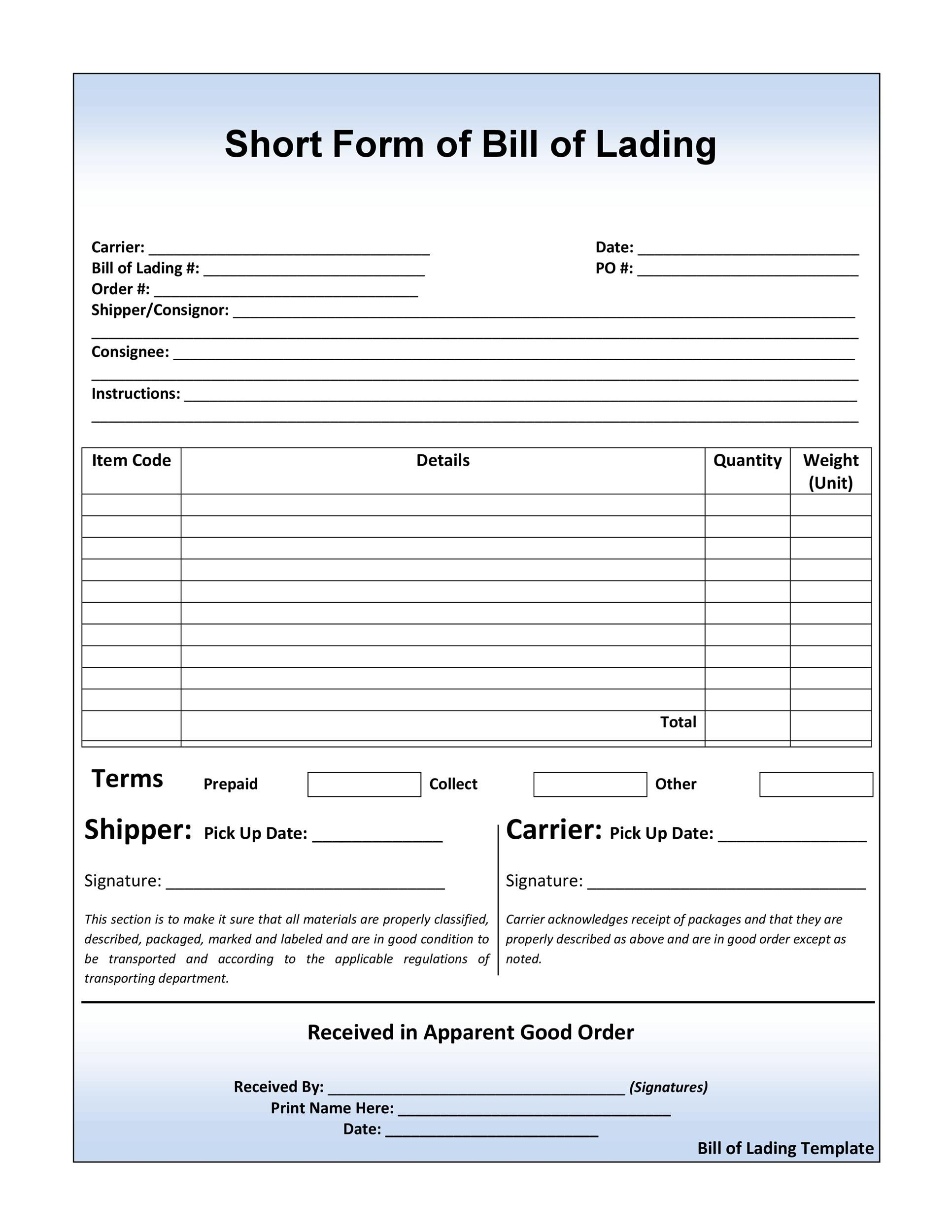 Printable Bill Of Lading 26  Blank Bill Of Lading Form Template