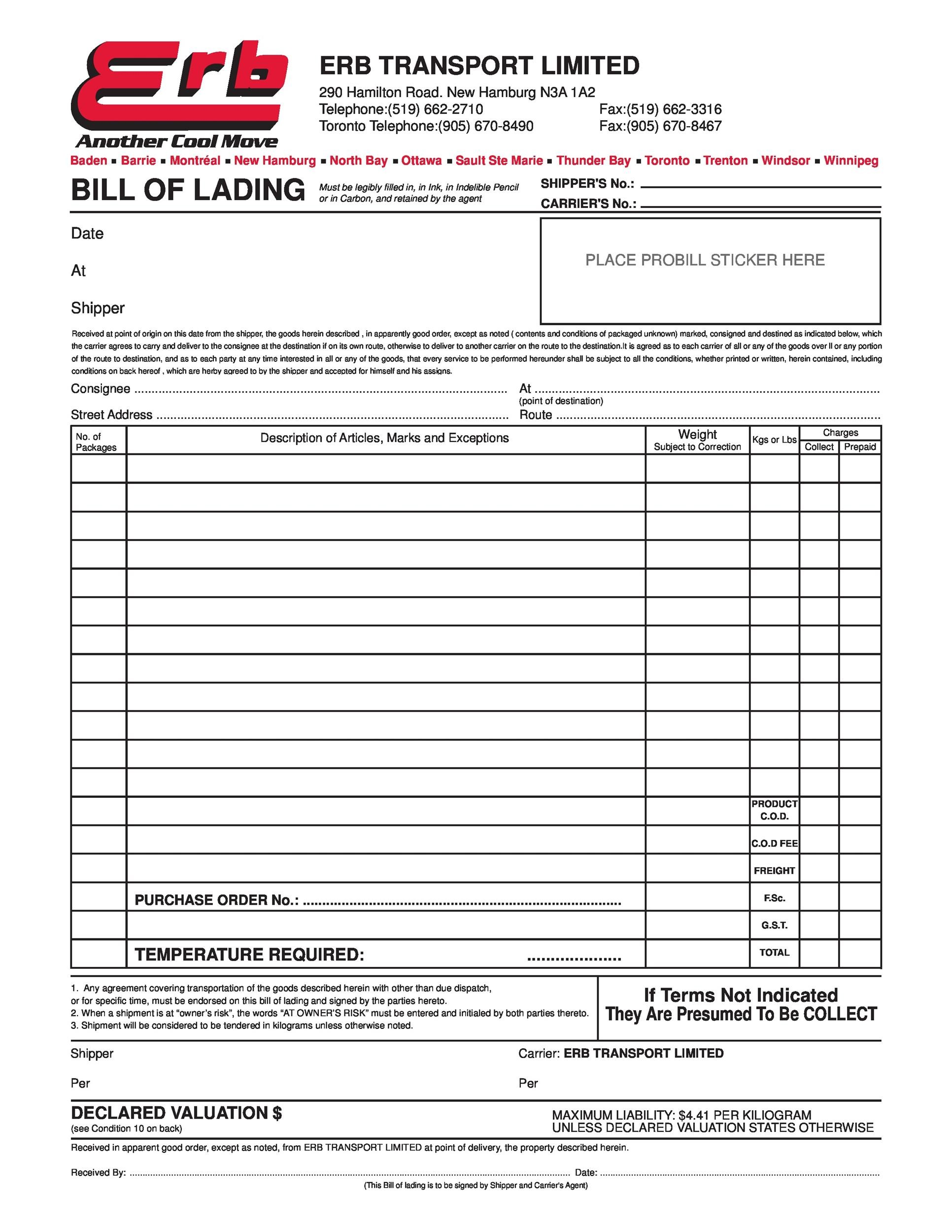 Free Bill of lading 28