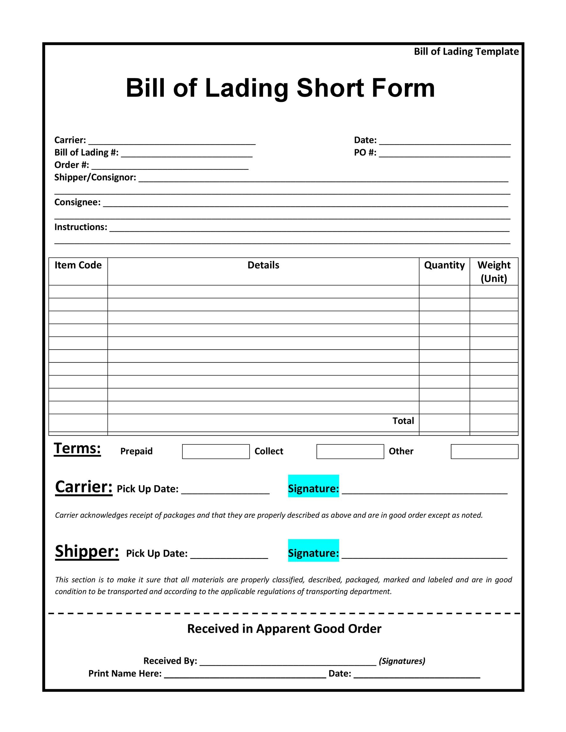 Superior Printable Bill Of Lading 30 Regarding Blank Bill Of Lading Form Template