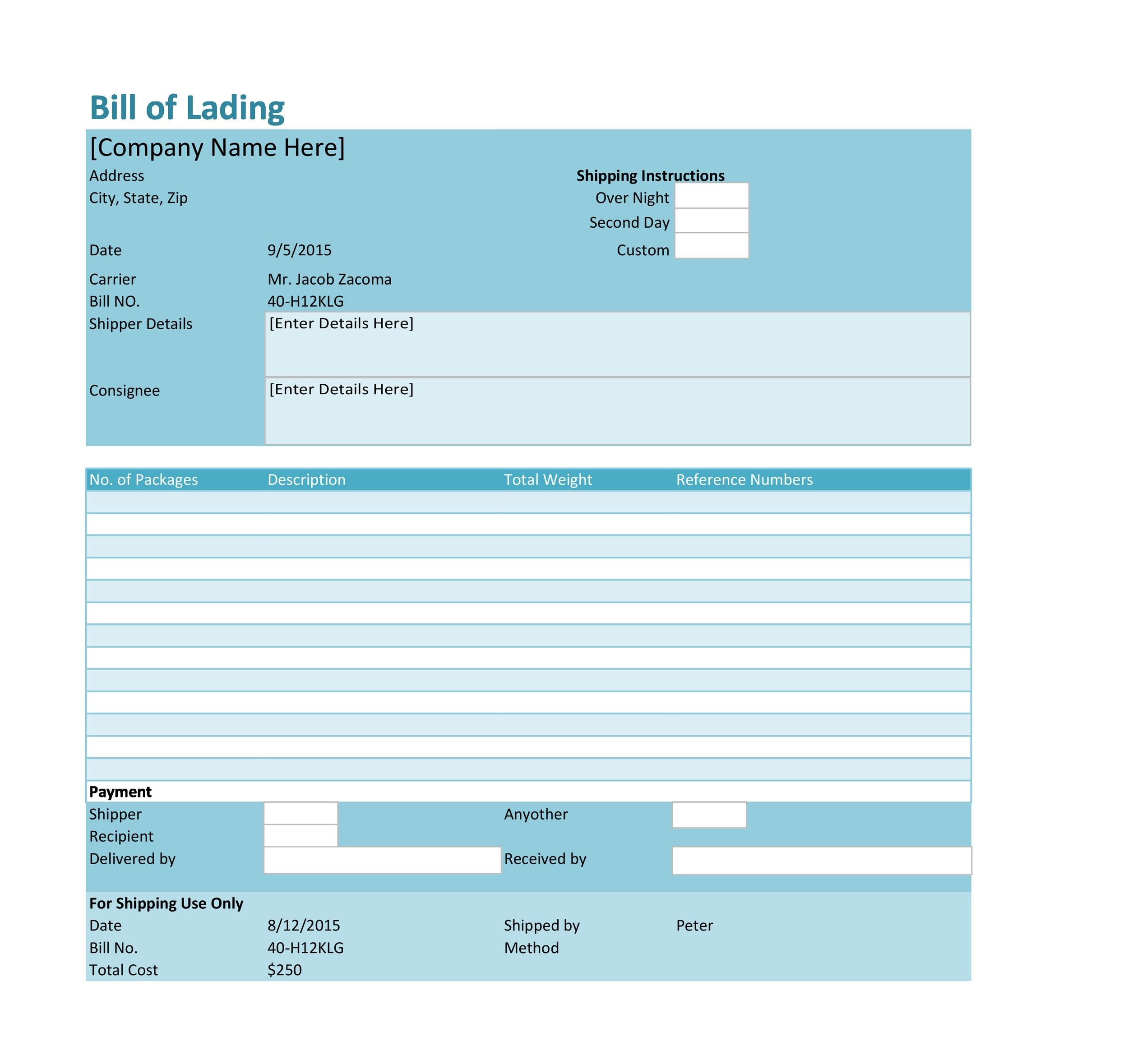 Printable Bill Of Lading 33