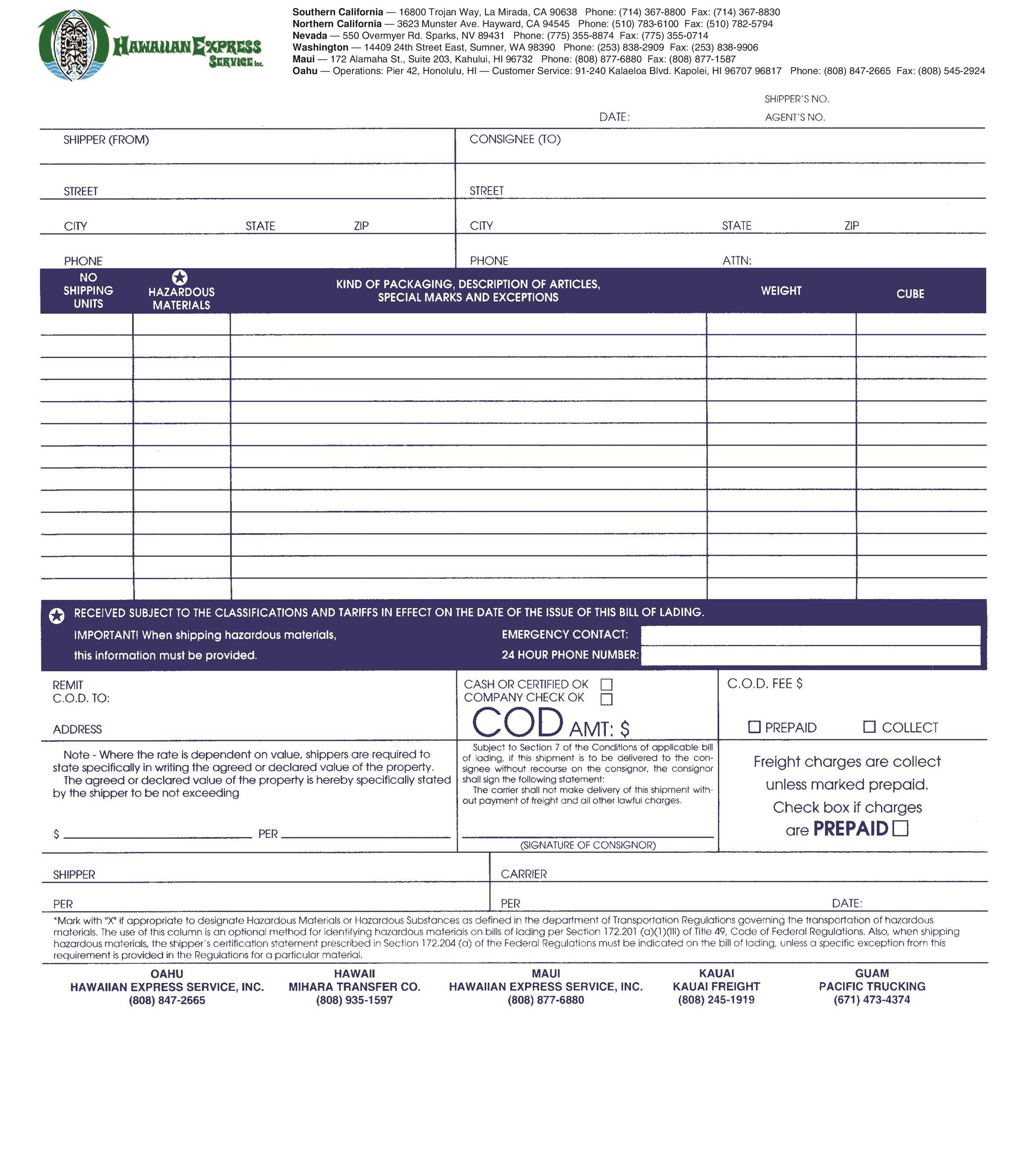bill of lading template pdf