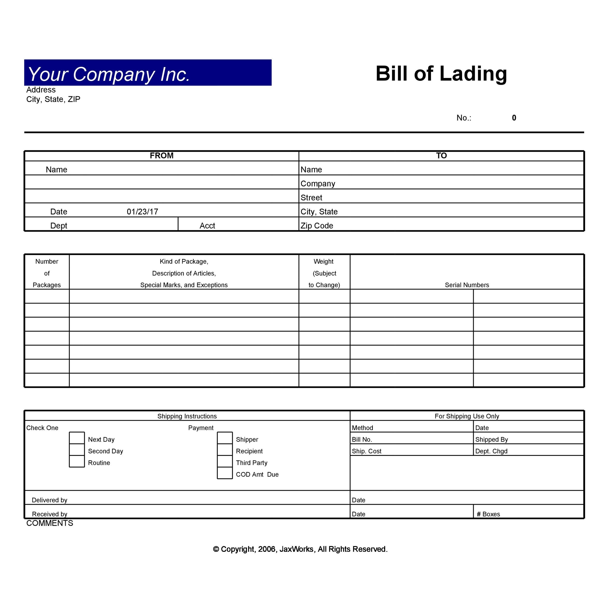 40 Free Bill Of Lading Forms Templates ᐅ Template Lab