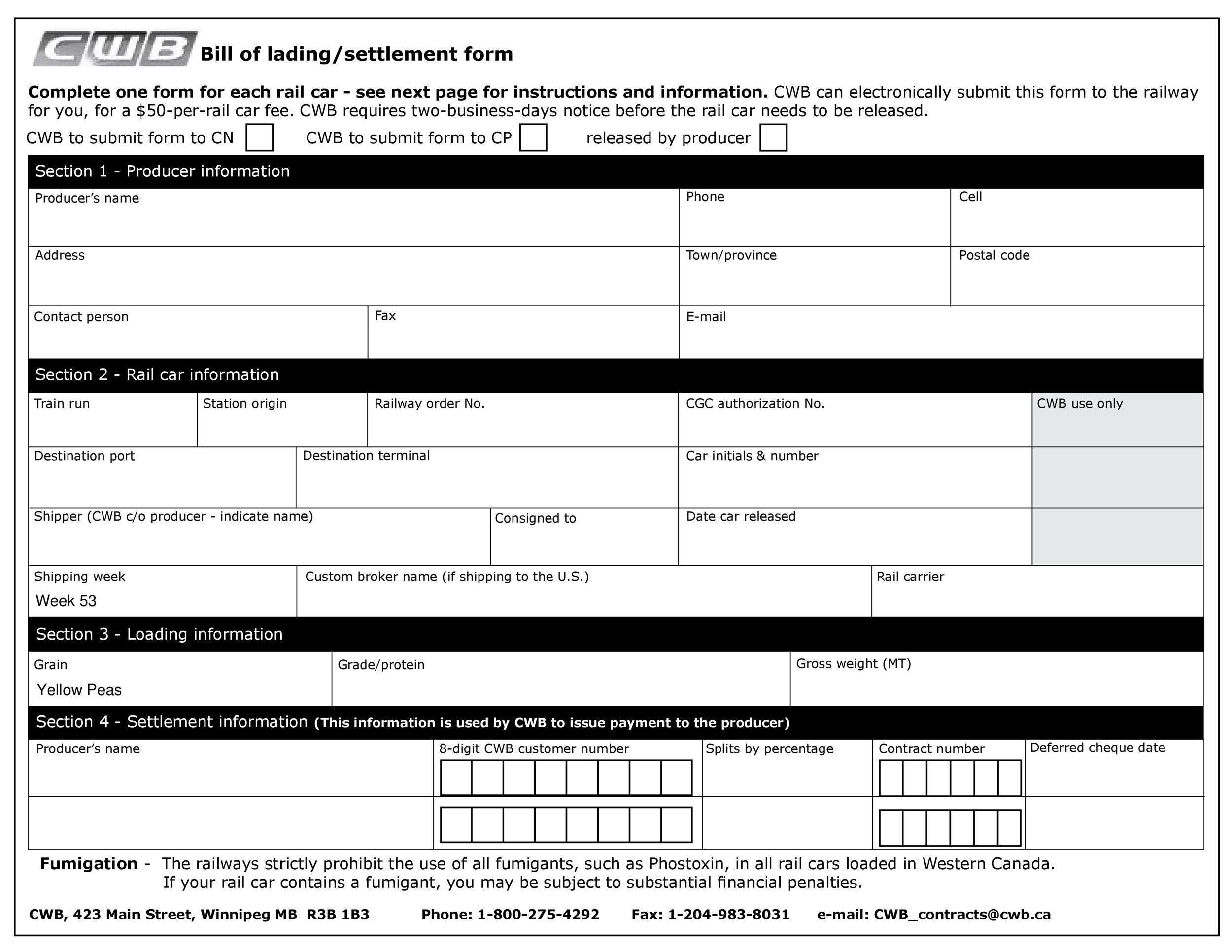Free Bill Of Lading Forms  Templates  Template Lab