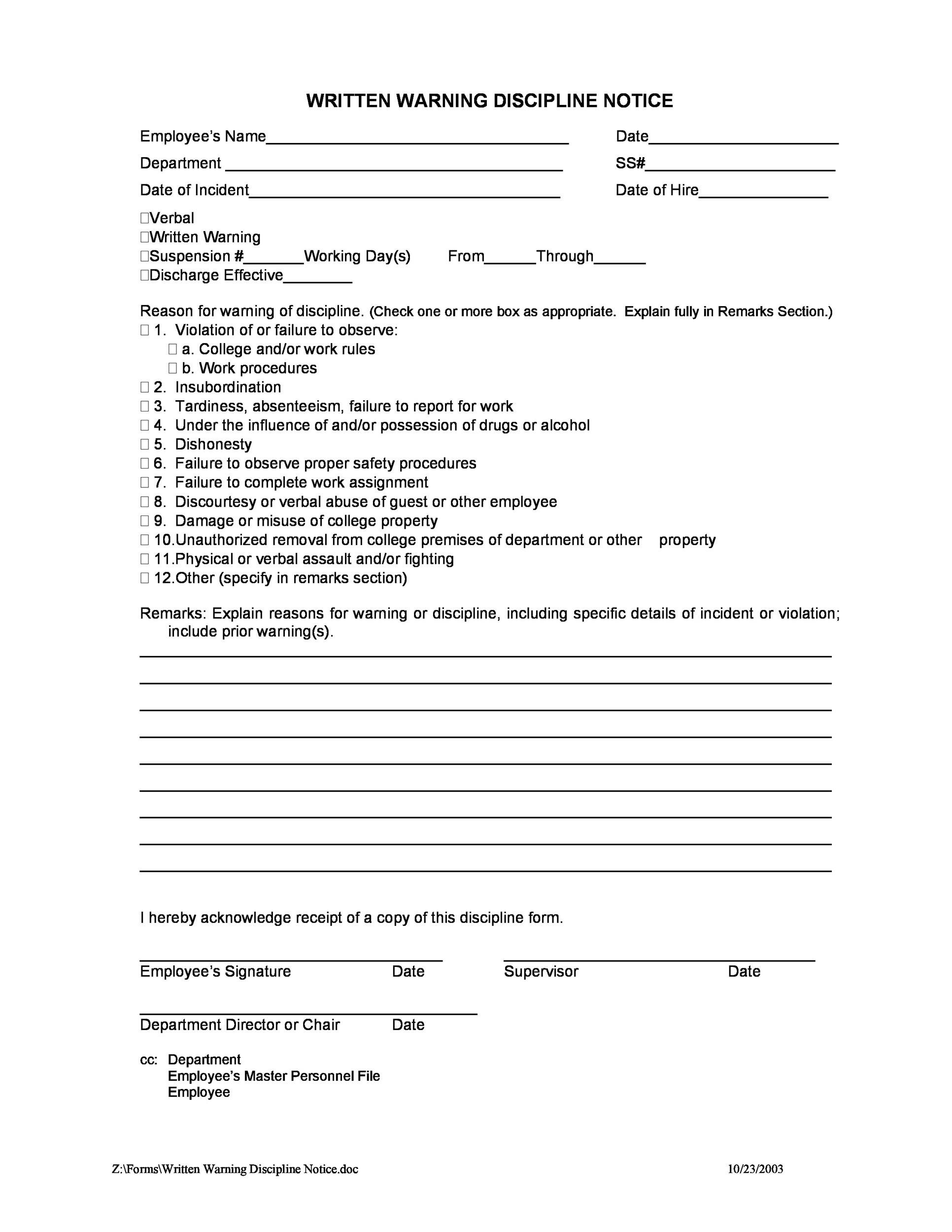 employee write up form fill online printable fillable blank