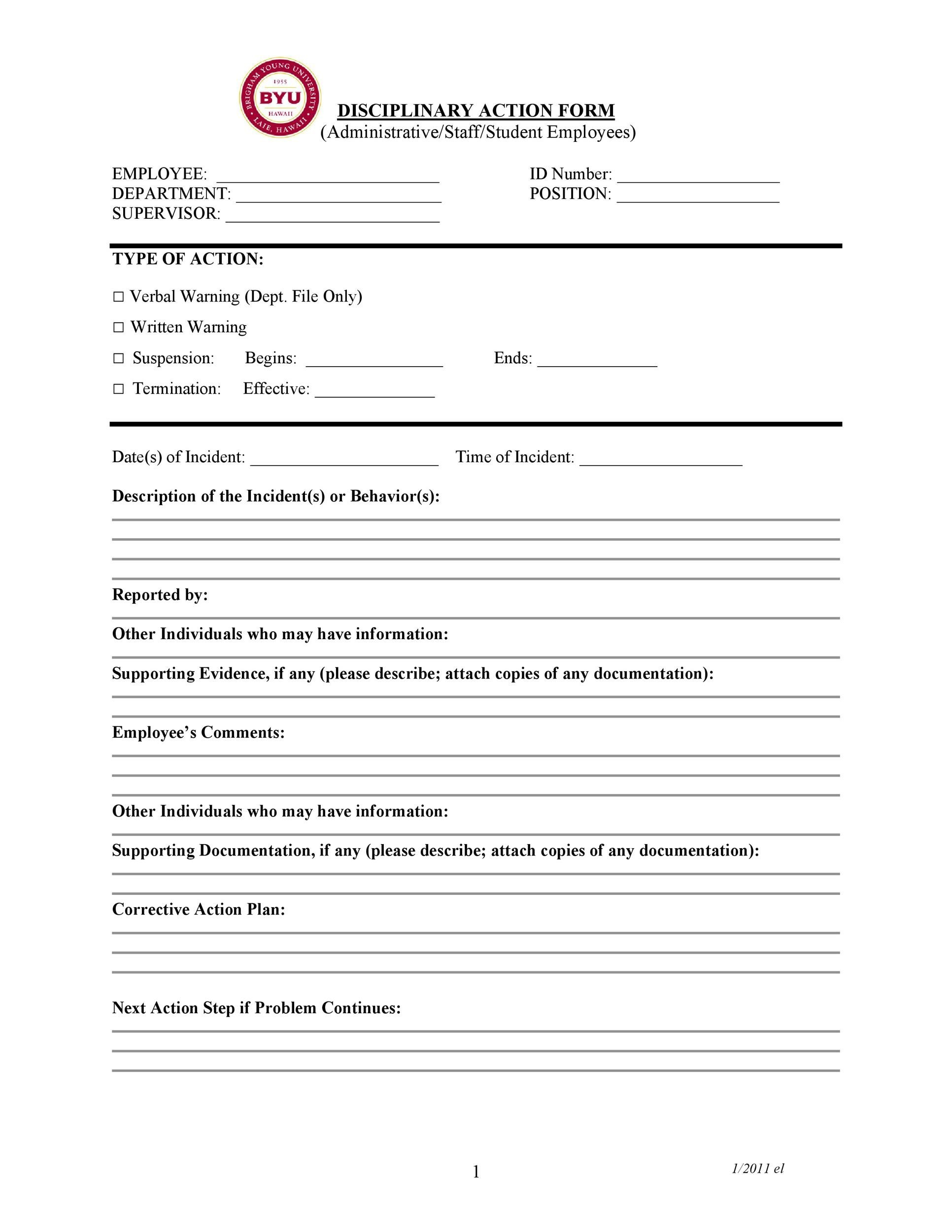Free Employee write up form 03