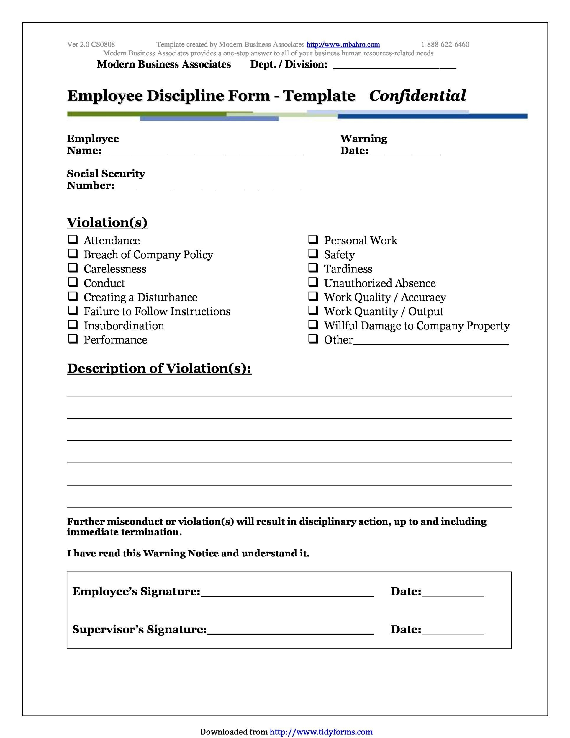 Printable Employee Write Up Form 08